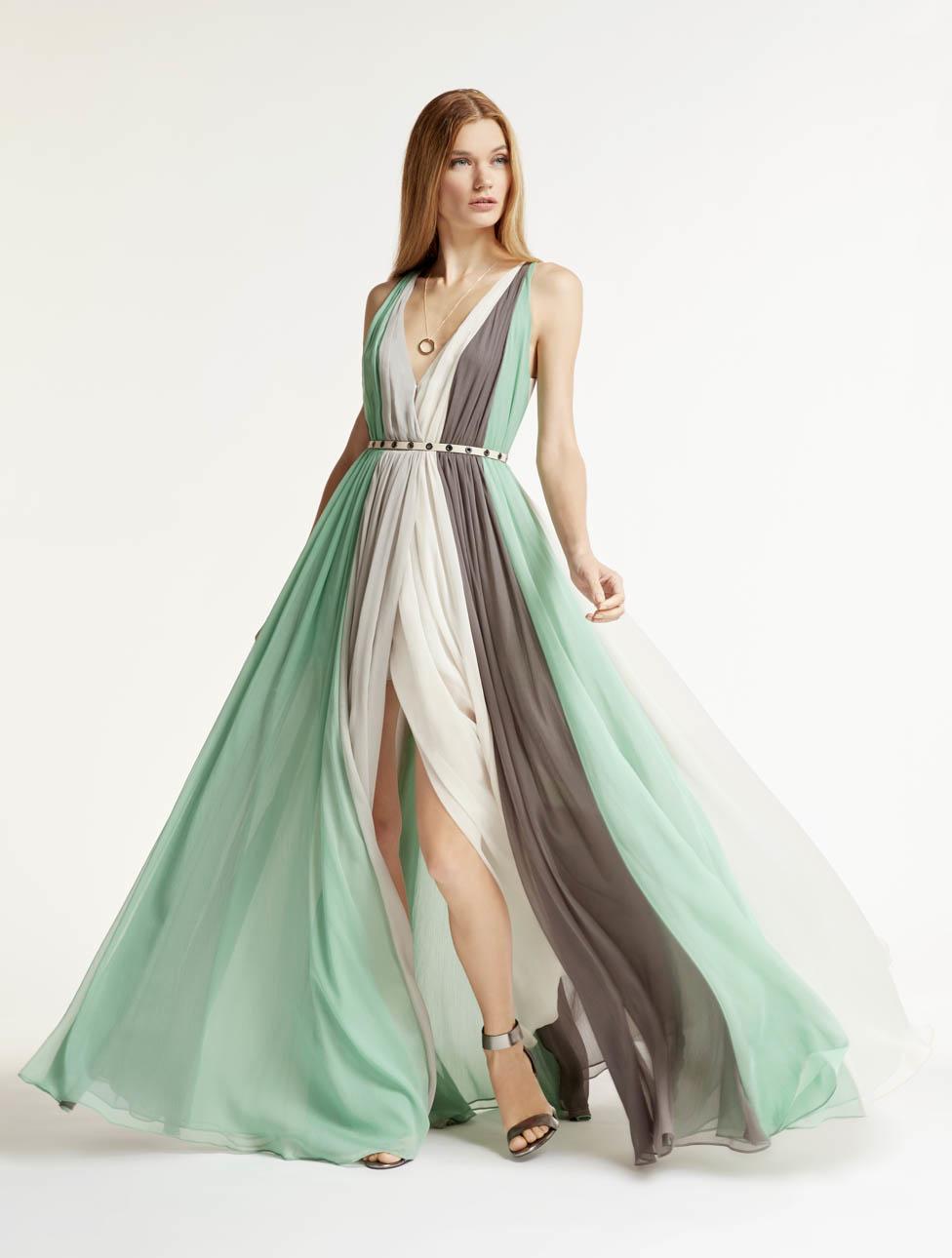 Lyst - Halston Multi Color Chiffon Gown