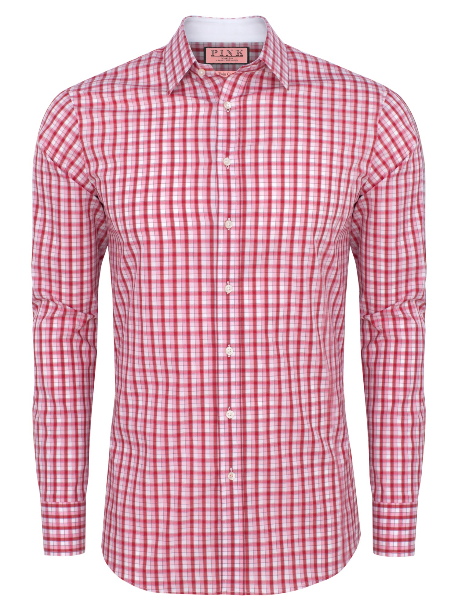 Thomas Pink Laces Slim Check Shirt In Pink For Men White