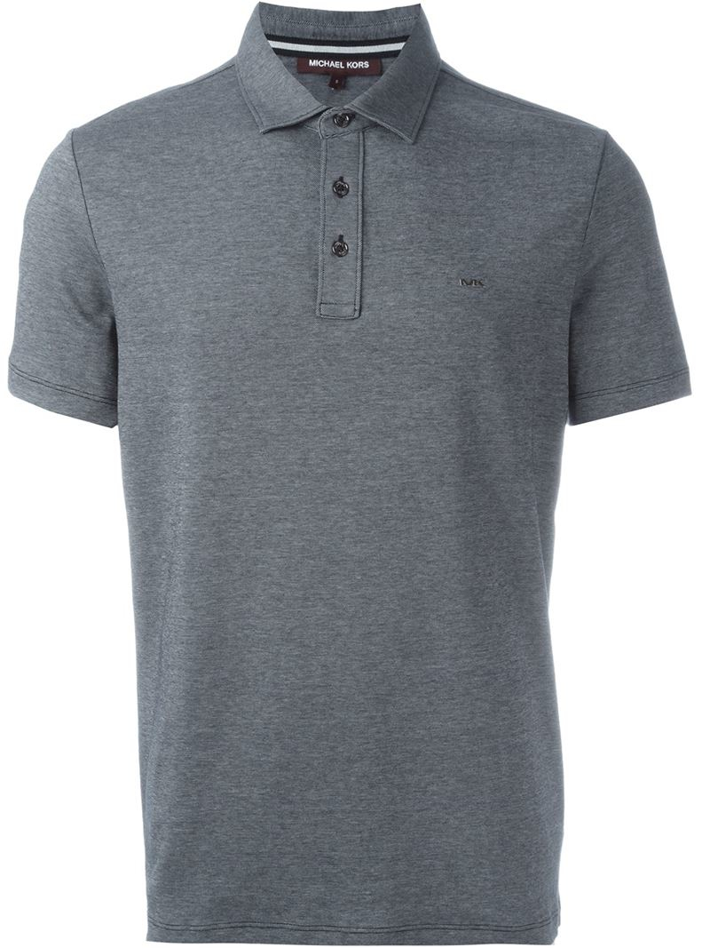 Michael kors logo polo shirt in gray for men grey lyst for Michael kors mens shirts sale