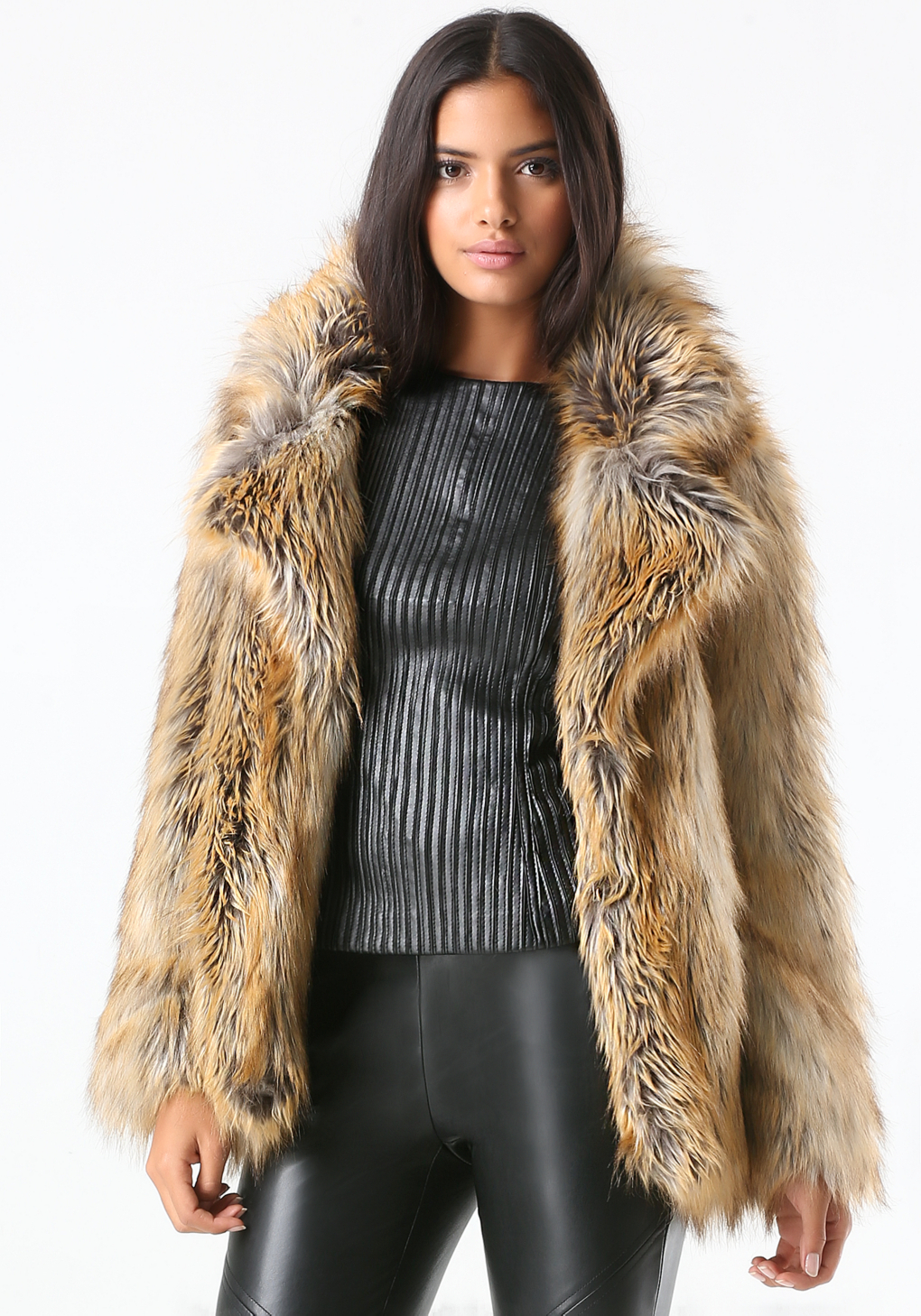Bebe Glam Faux Fur Coat In Natural Lyst