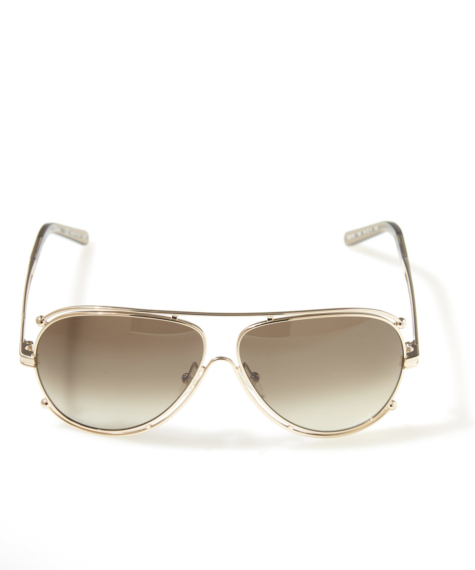 a66ac1e63cd Lyst chloé gold isadora aviator sunglasses in metallic jpg 960x1153 Chloe  gold optical frame