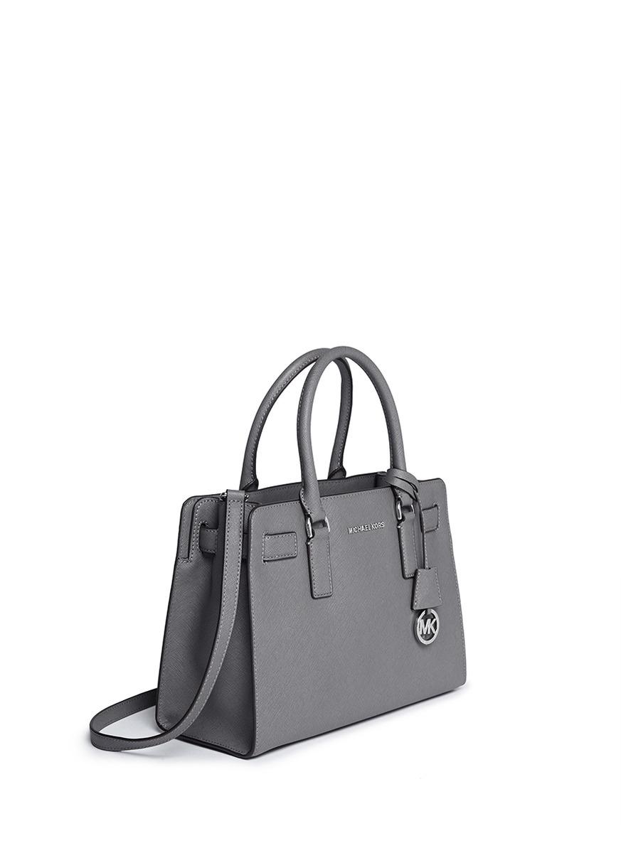 0c911e401ccf1b ... czech michael kors dillon saffiano leather satchel in gray lyst 64bc6  991f7