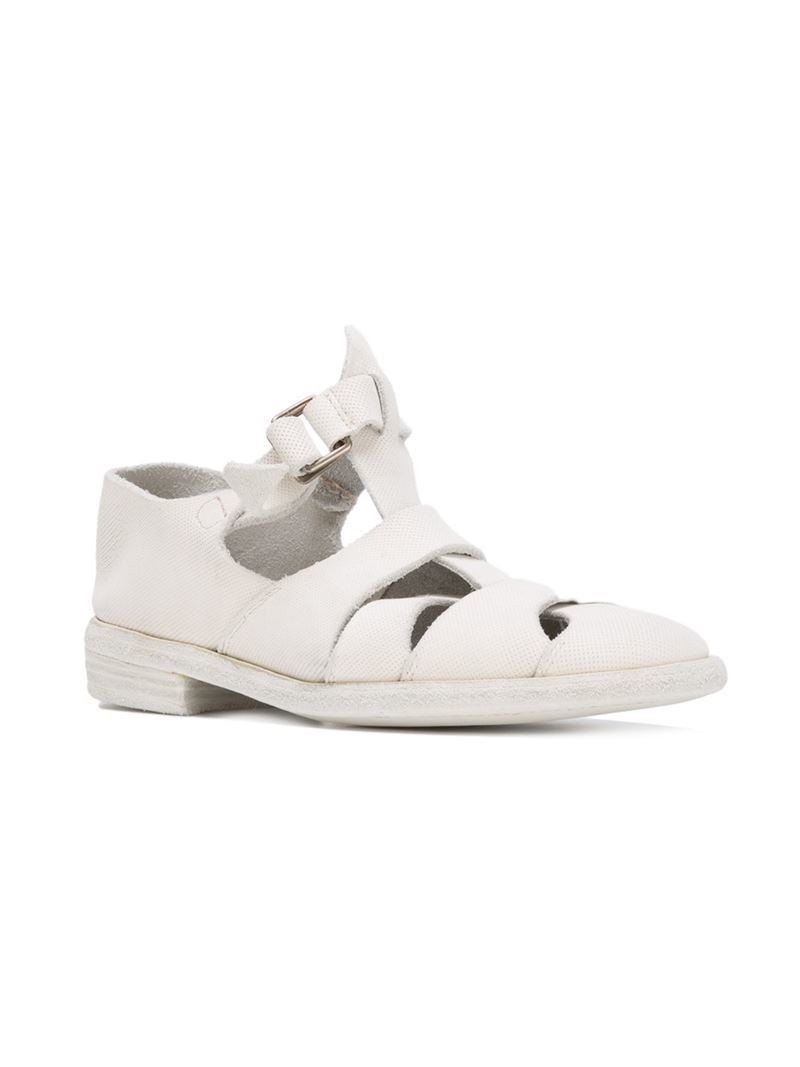 guidi cage sandals in white for lyst