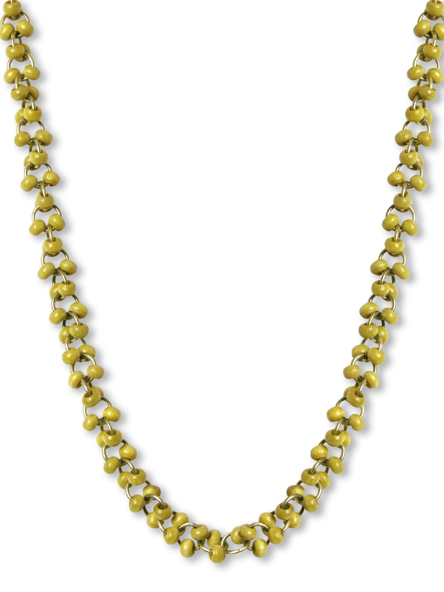 White Stuff Mossy Bead Necklace in Green (Metallic)