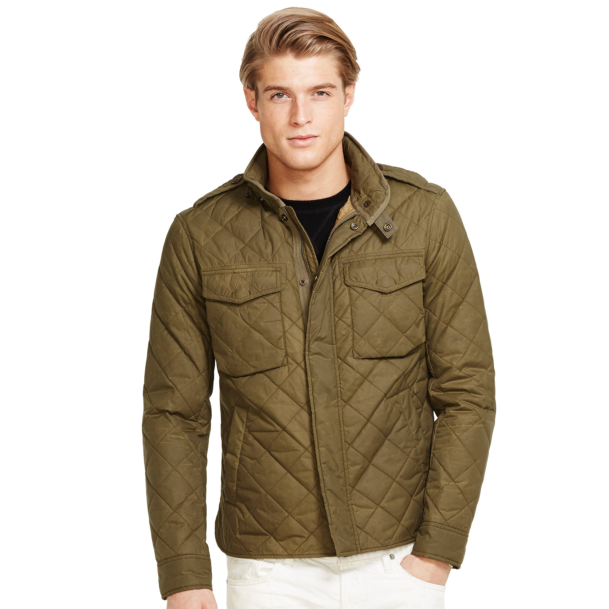 Lyst ralph lauren quilted m65 shirt jacket in green for Polo shirt with jacket