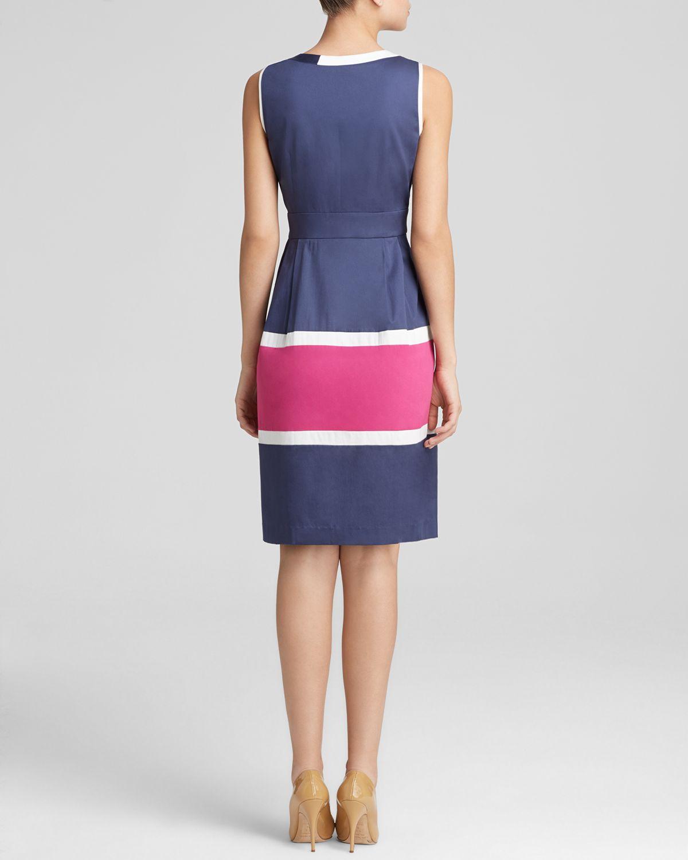 Lyst Anne Klein Dress Sleeveless V Neck Color Block