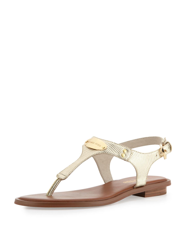312cb6a321f Lyst - MICHAEL Michael Kors Plate Thong Sandal in Metallic