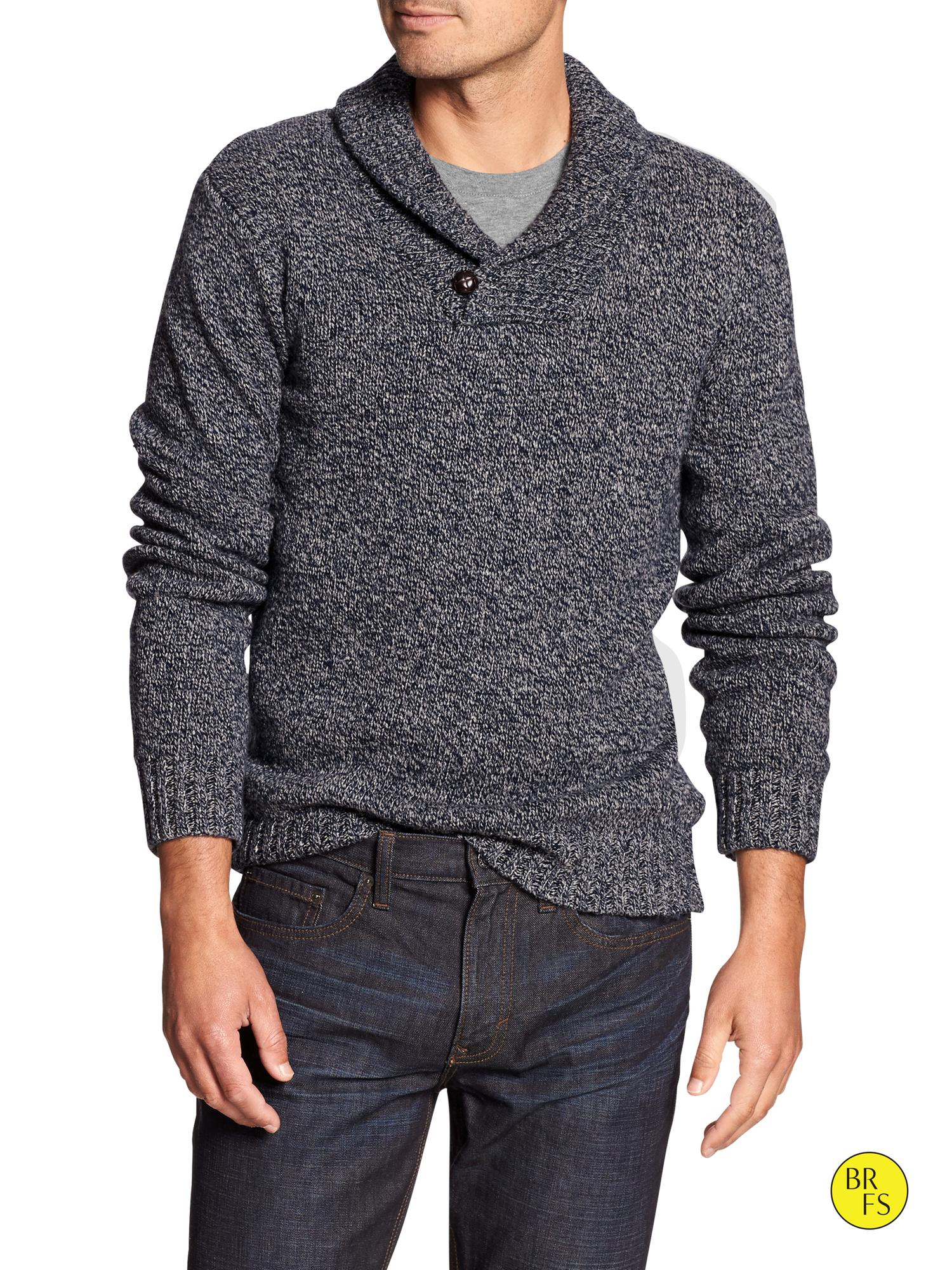 Lyst Banana Republic Factory Marled Shawl Collar Sweater In Blue