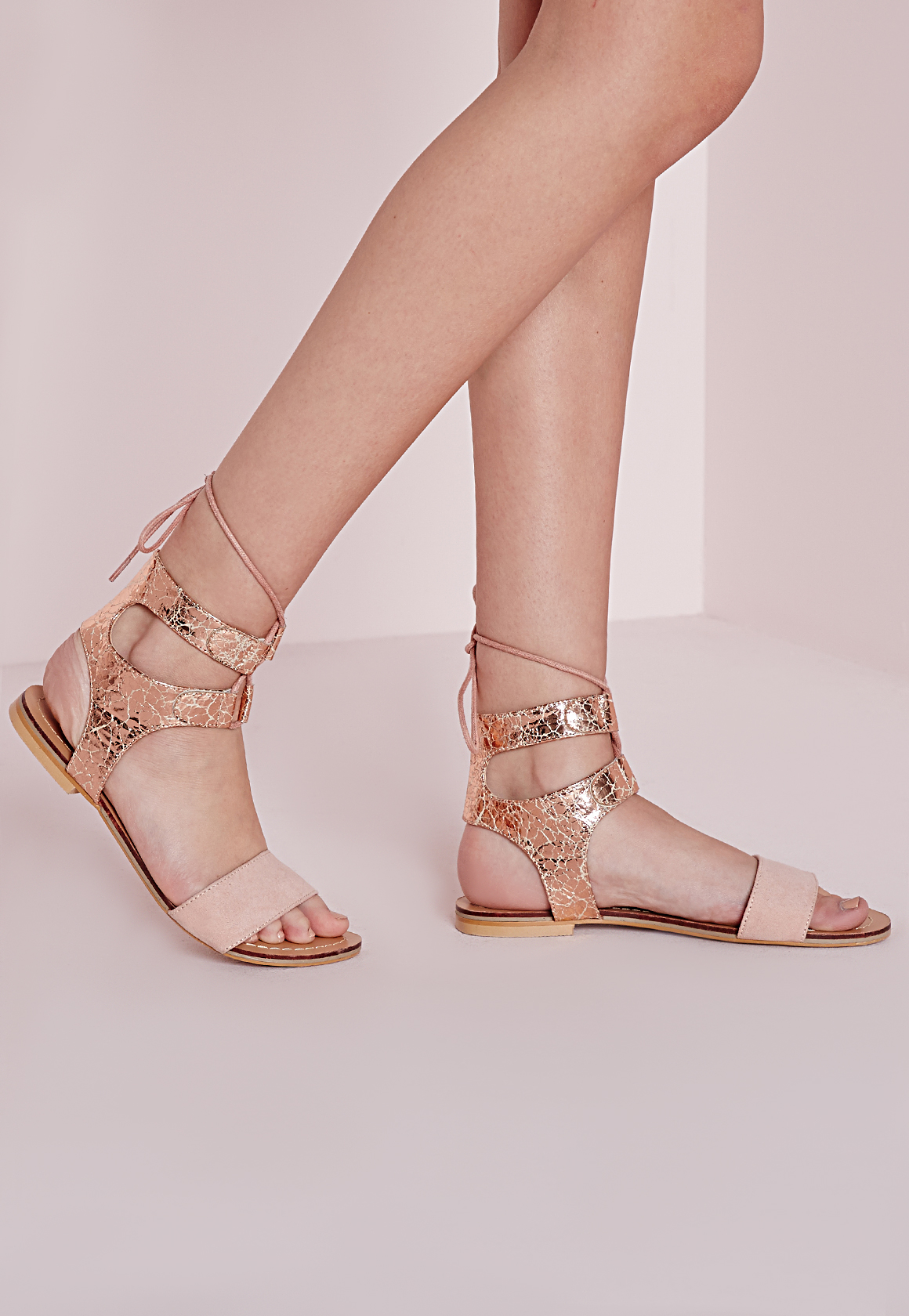 6f6dc717536 Lyst - Missguided Cracked Metallic Flat Sandals Rose Gold in Pink