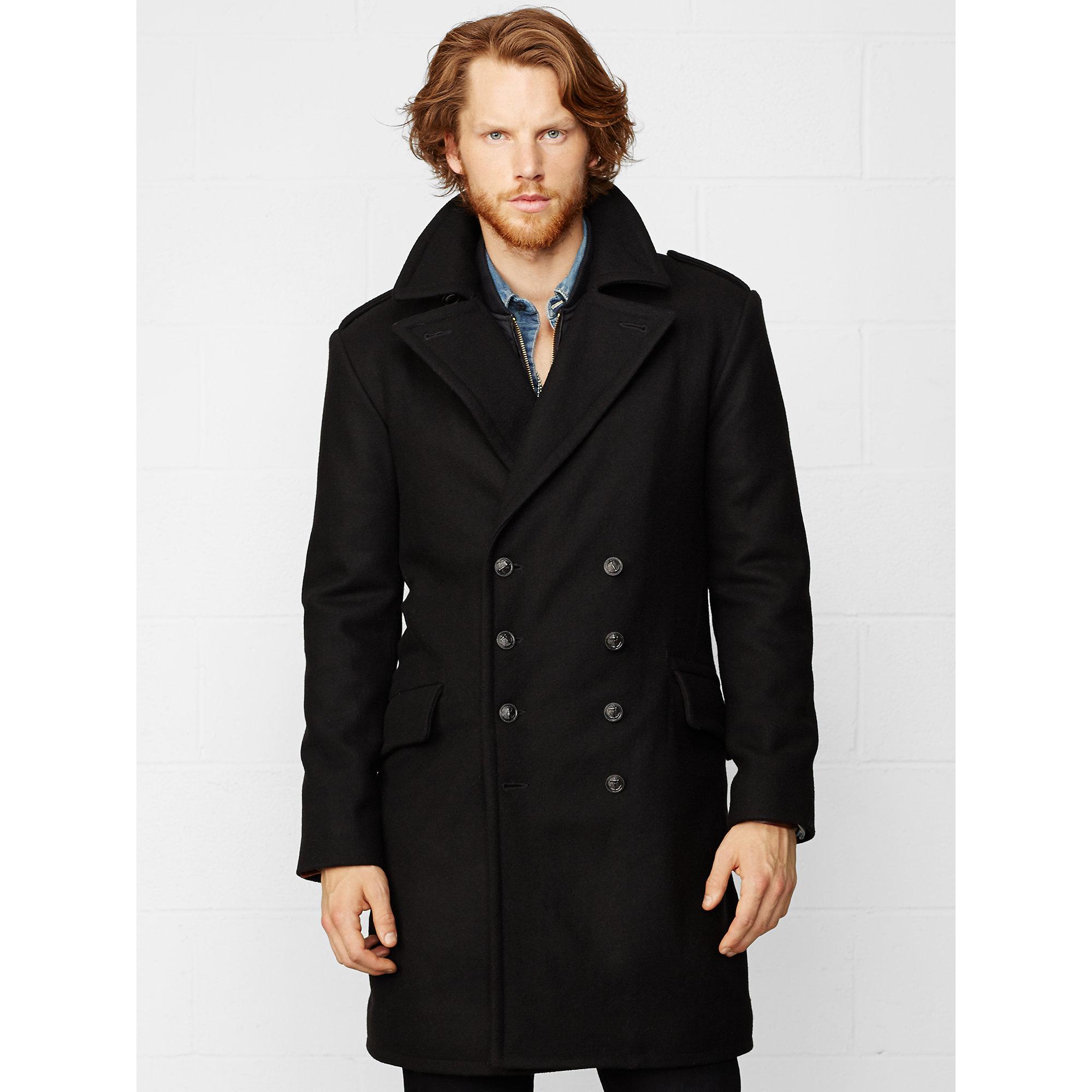 Denim amp supply ralph lauren black wool officer s coat for men lyst