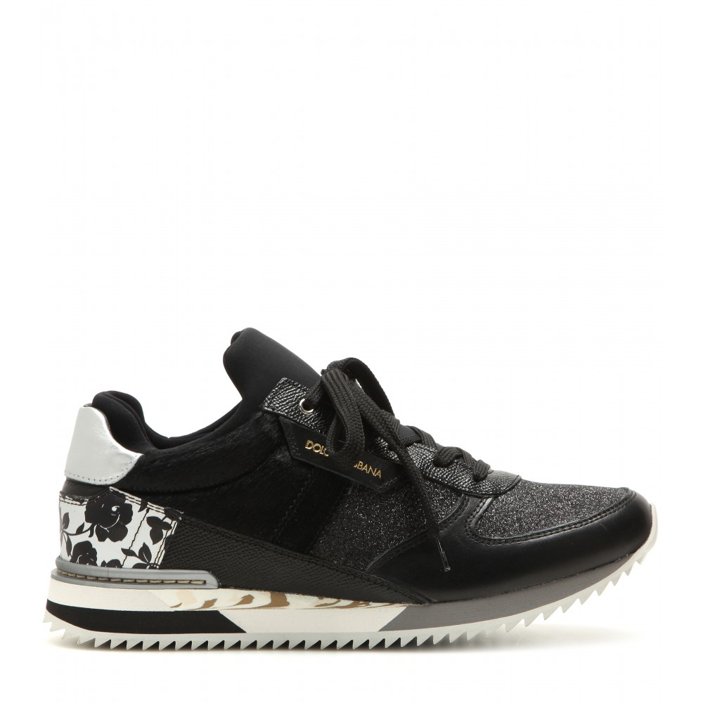 Dolce & Gabbana Low-Top Leather and Cotton Sneakers in Black