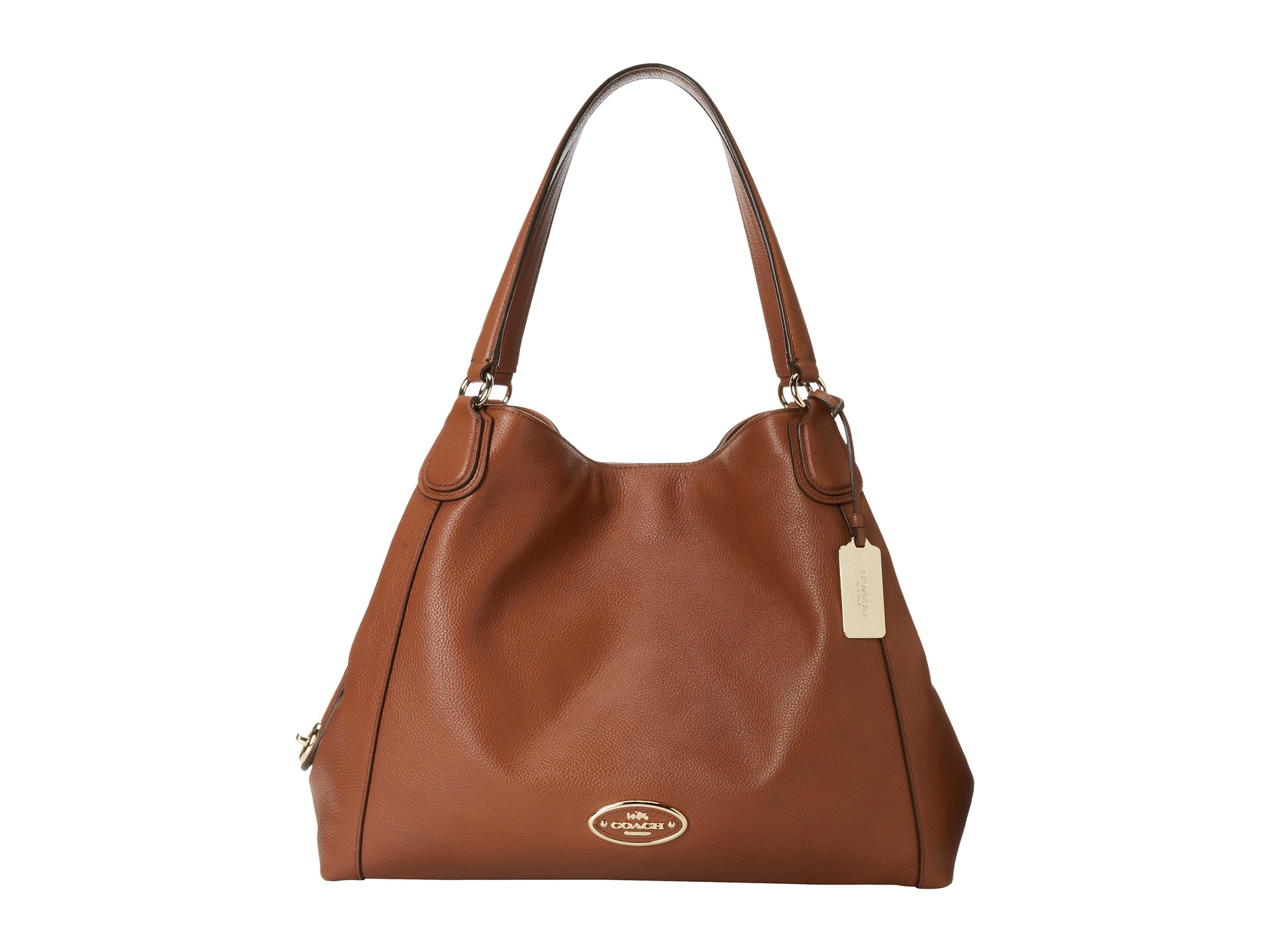 3fadf3ea2 COACH Refined Pebbled Leather Edie Shoulder Bag in Brown - Lyst