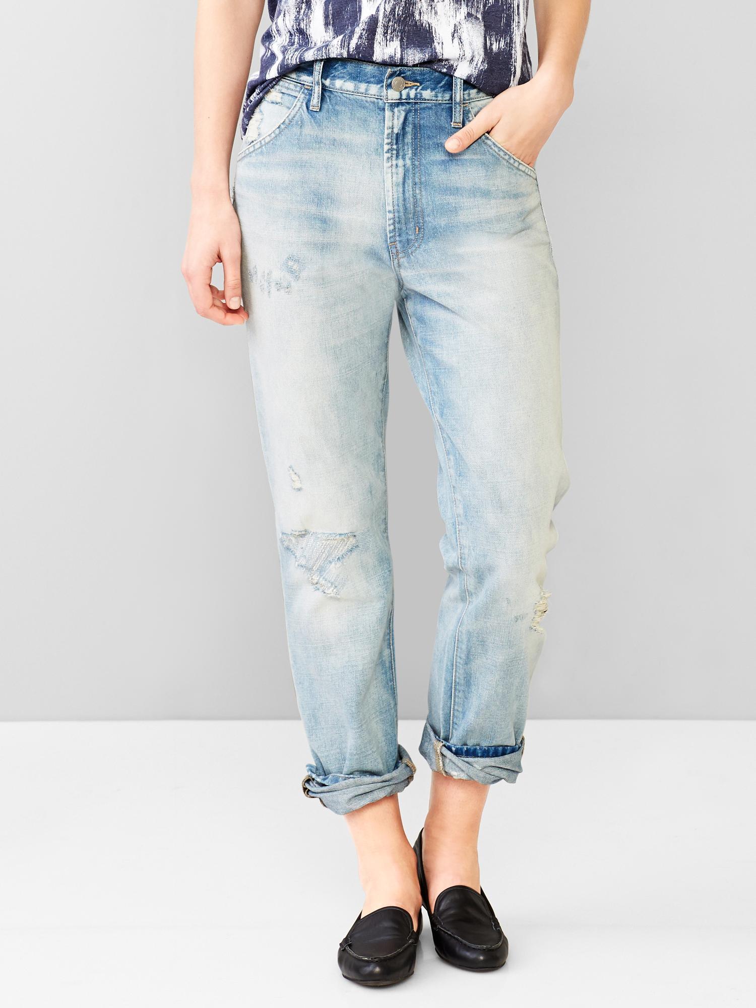 Gap 1969 Destructed Authentic Boyfriend Jeans in Blue (destroyed vintage) | Lyst