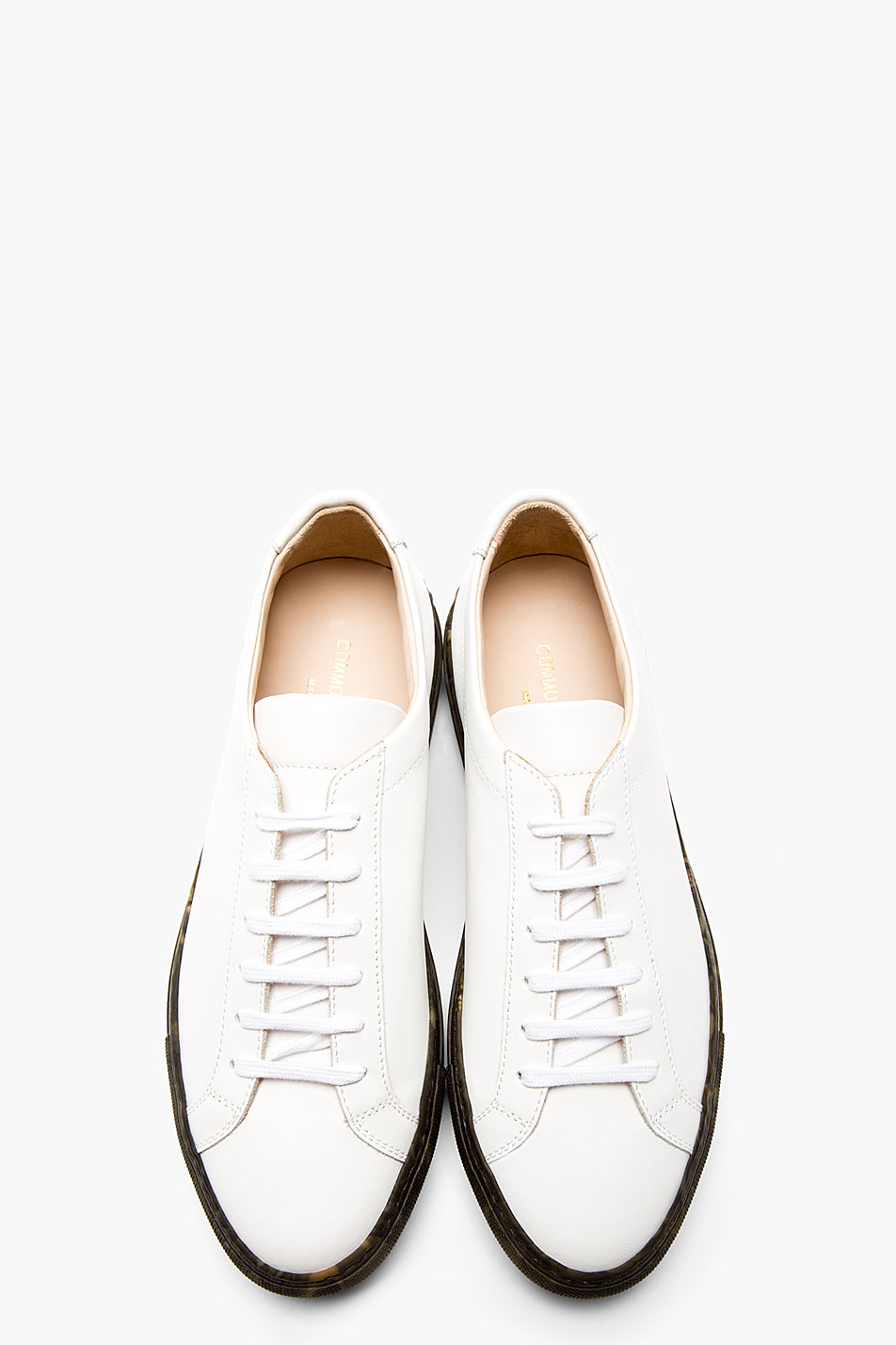 11eb9b331c056 Common Projects White Leather Camo Sole Achilles Sneakers in White ...