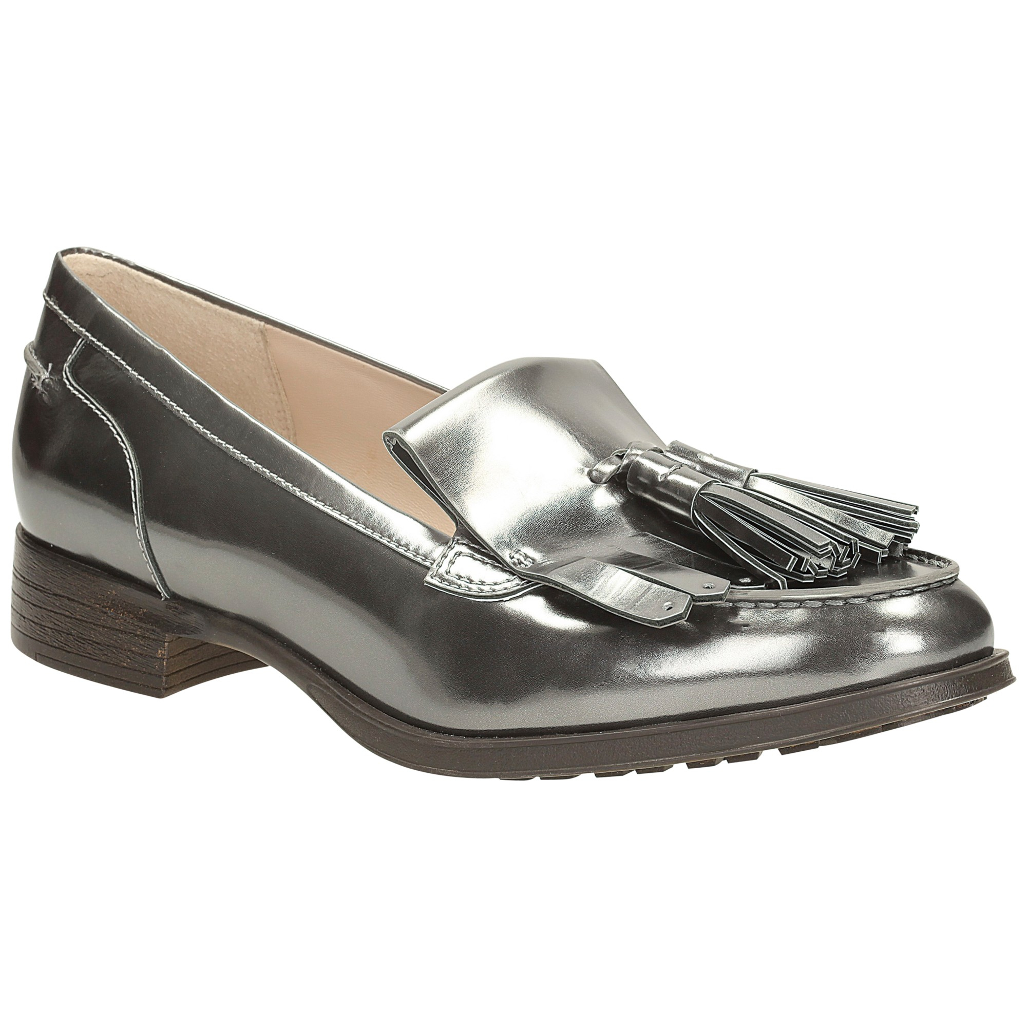 WOMENS GIRLS NEW FLAT PEWTER LOAFERS BROGUE TASTLE SLIP ON SHOES SIZE
