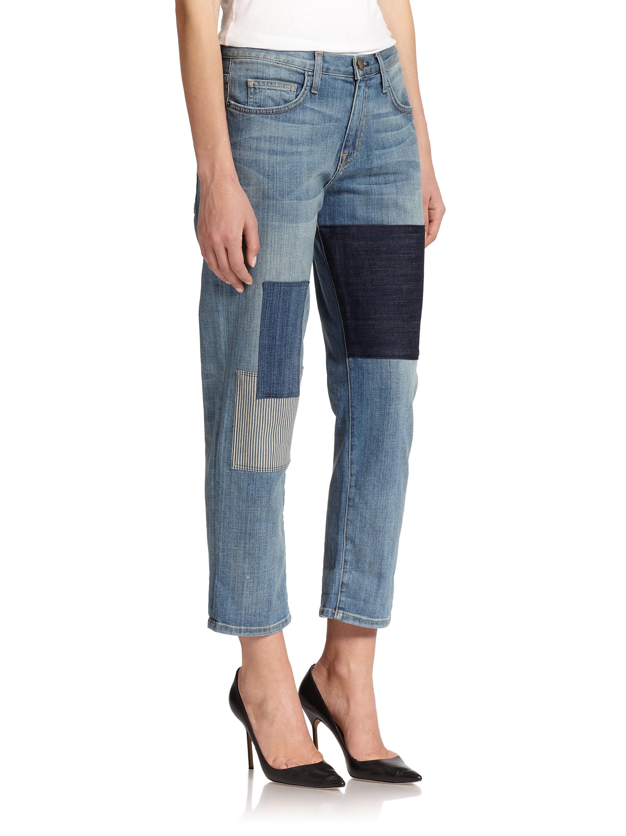 Current/elliott Distressed Patchwork Boyfriend Jeans in Blue | Lyst