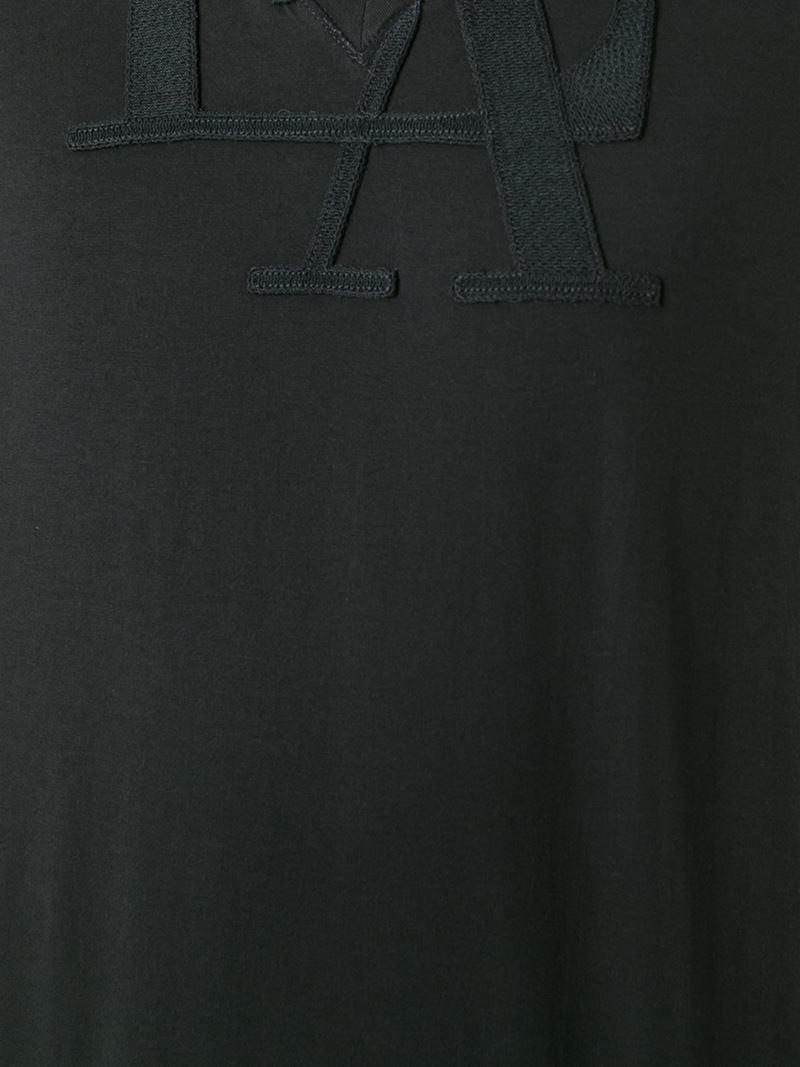 Emporio armani logo patch t shirt in black for men lyst - Emporio giorgio armani logo ...