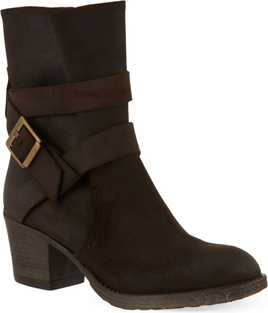 Carvela Kurt Geiger Silk Suede Ankle Boots In Brown | Lyst