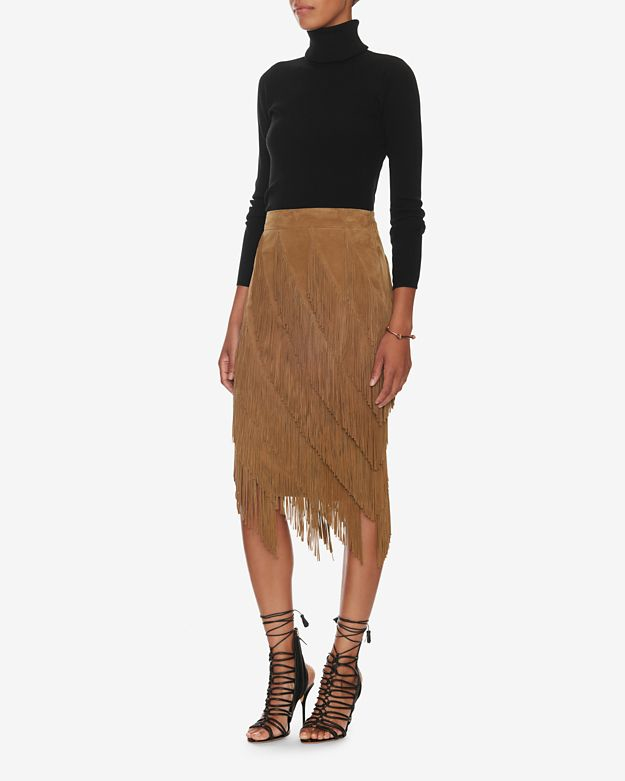 exclusive for intermix goat suede layered fringe skirt in