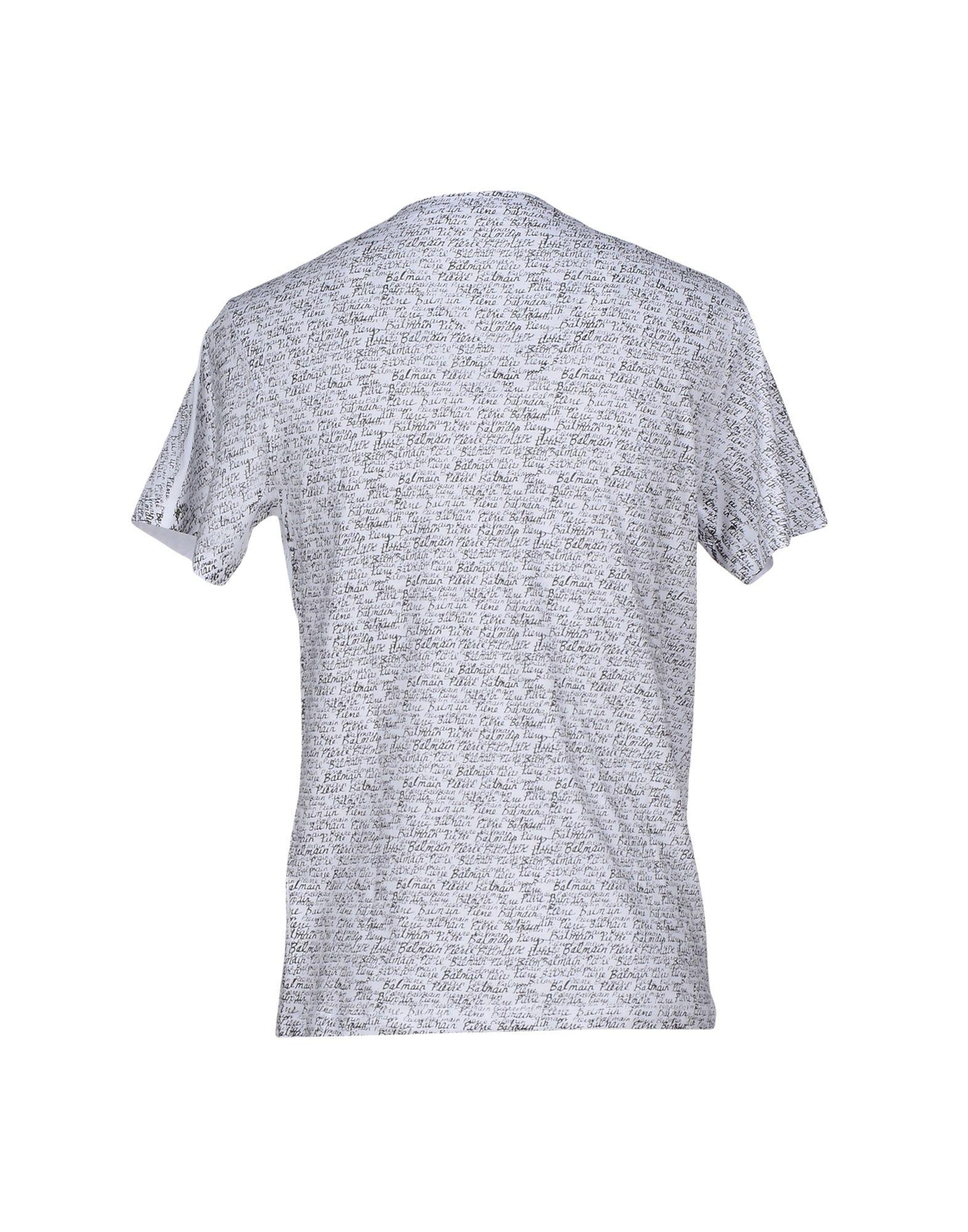 Balmain t shirt in white for men lyst for Balmain white logo t shirt