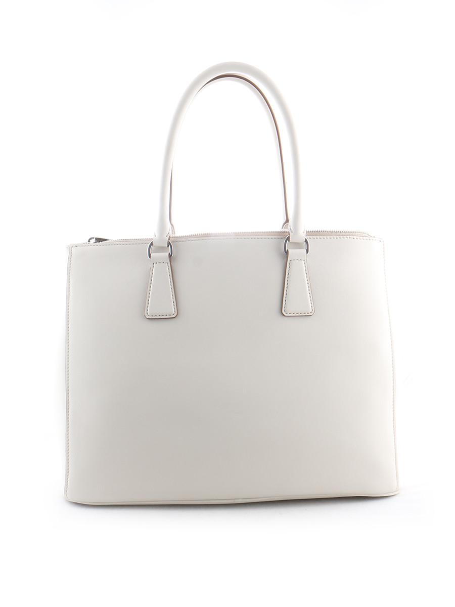 Prada Womens Bag in White | Lyst - prada galleria bag marble gray + white + baltic blue