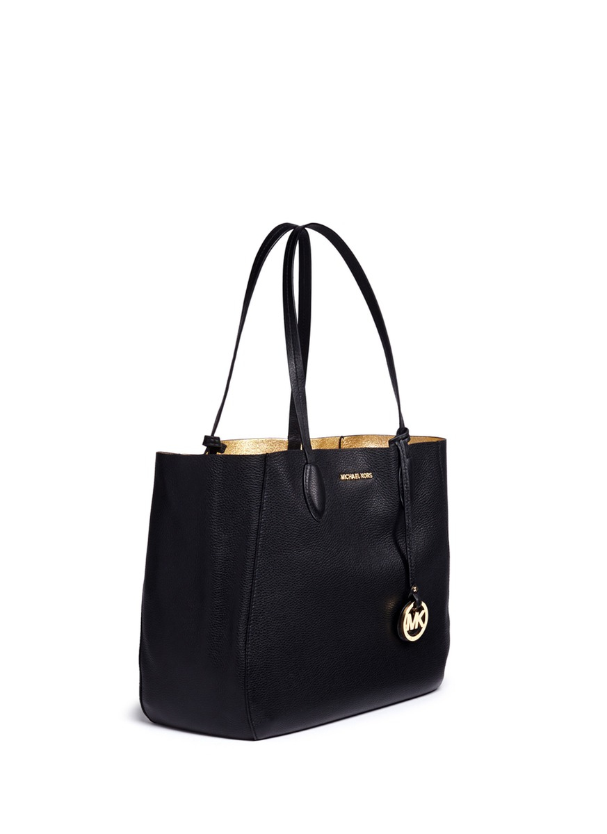 d2856b0616b0fe Michael Kors 'mae' Large Leather Tote in Black - Lyst