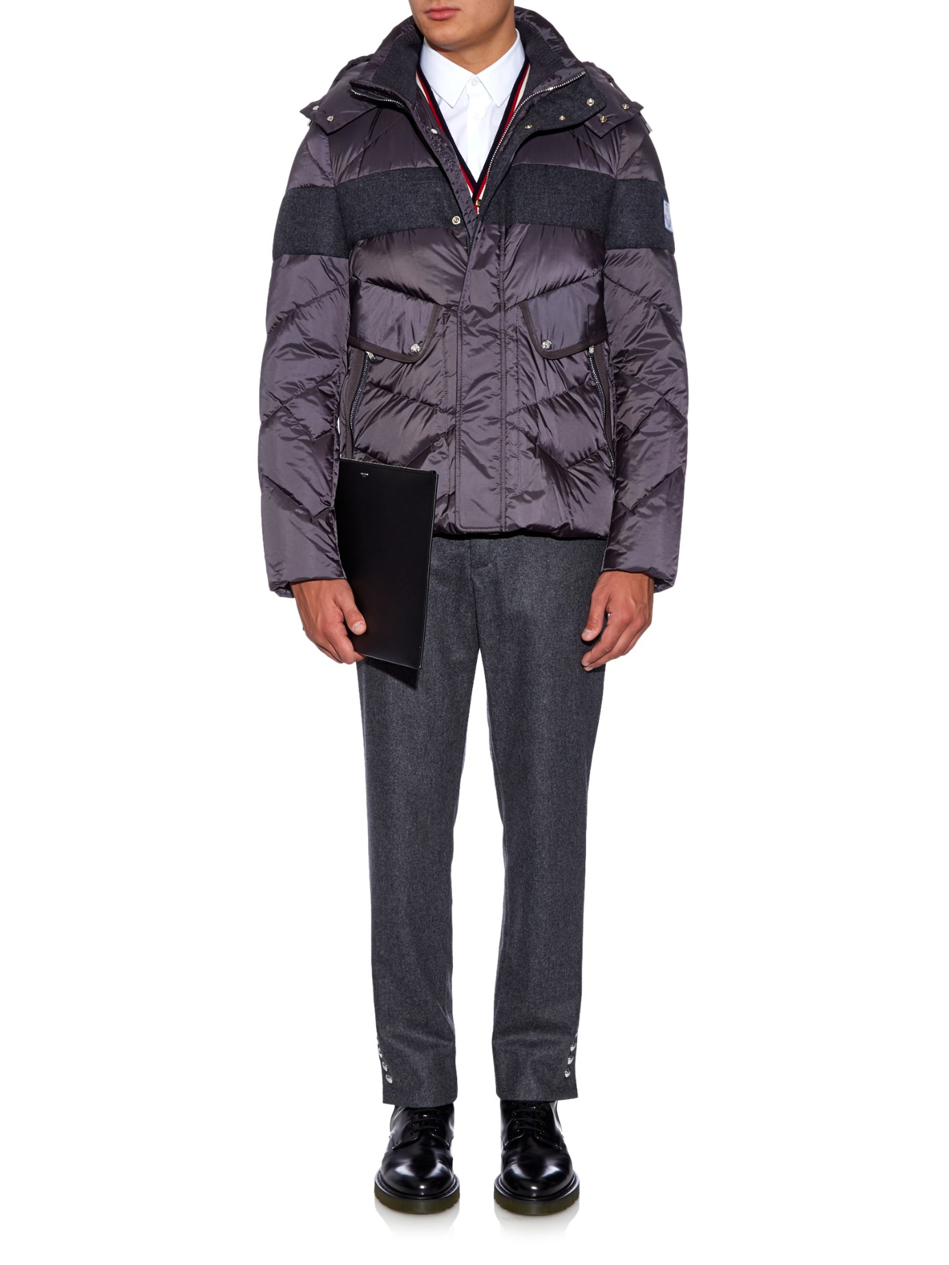 Moncler Gamme Bleu Quilted-down Wool-panel Jacket in Charcoal (Grey) for Men