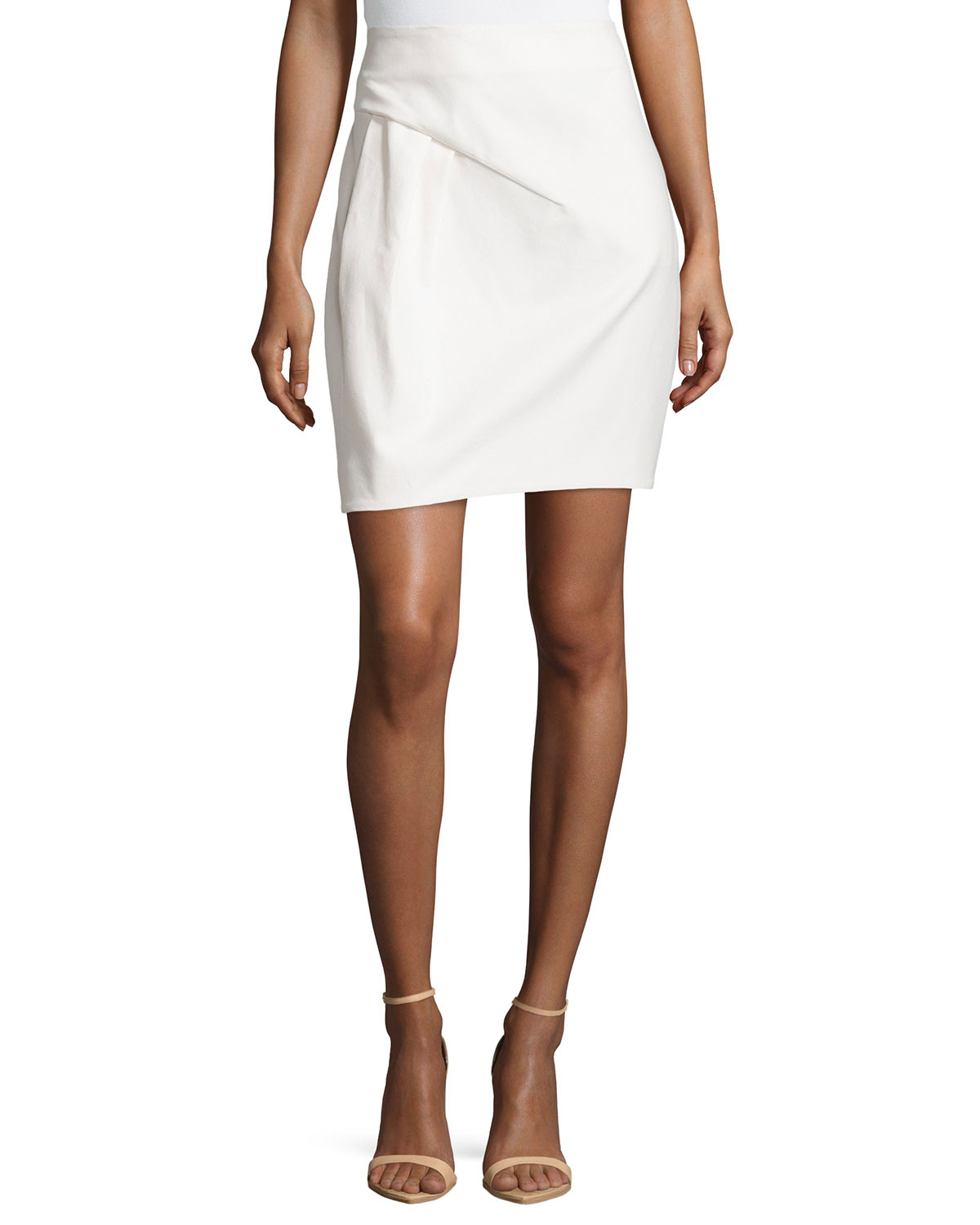 heritage twill draped pencil skirt in white