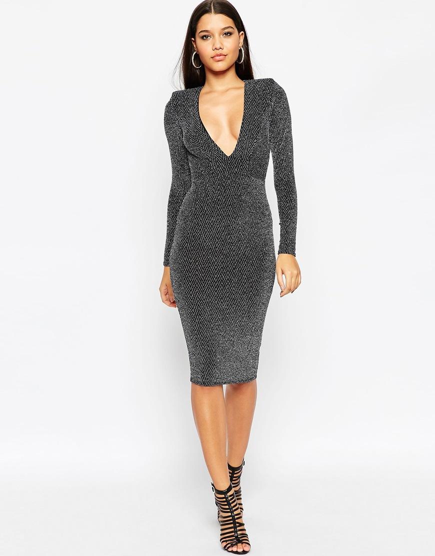 c24d5566396 ASOS Glitter Shoulder Pad Midi Bodycon Dress in Black - Lyst