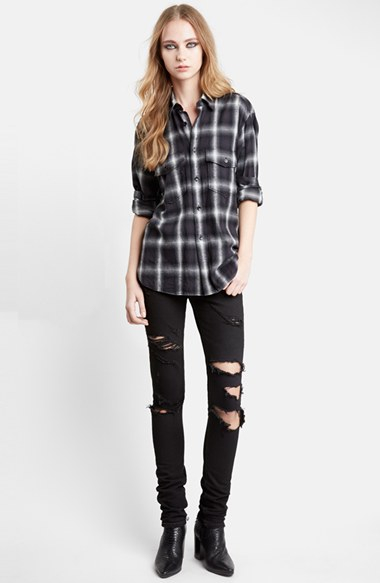 Saint laurent oversize check flannel shirt in black lyst for Saint laurent check shirt