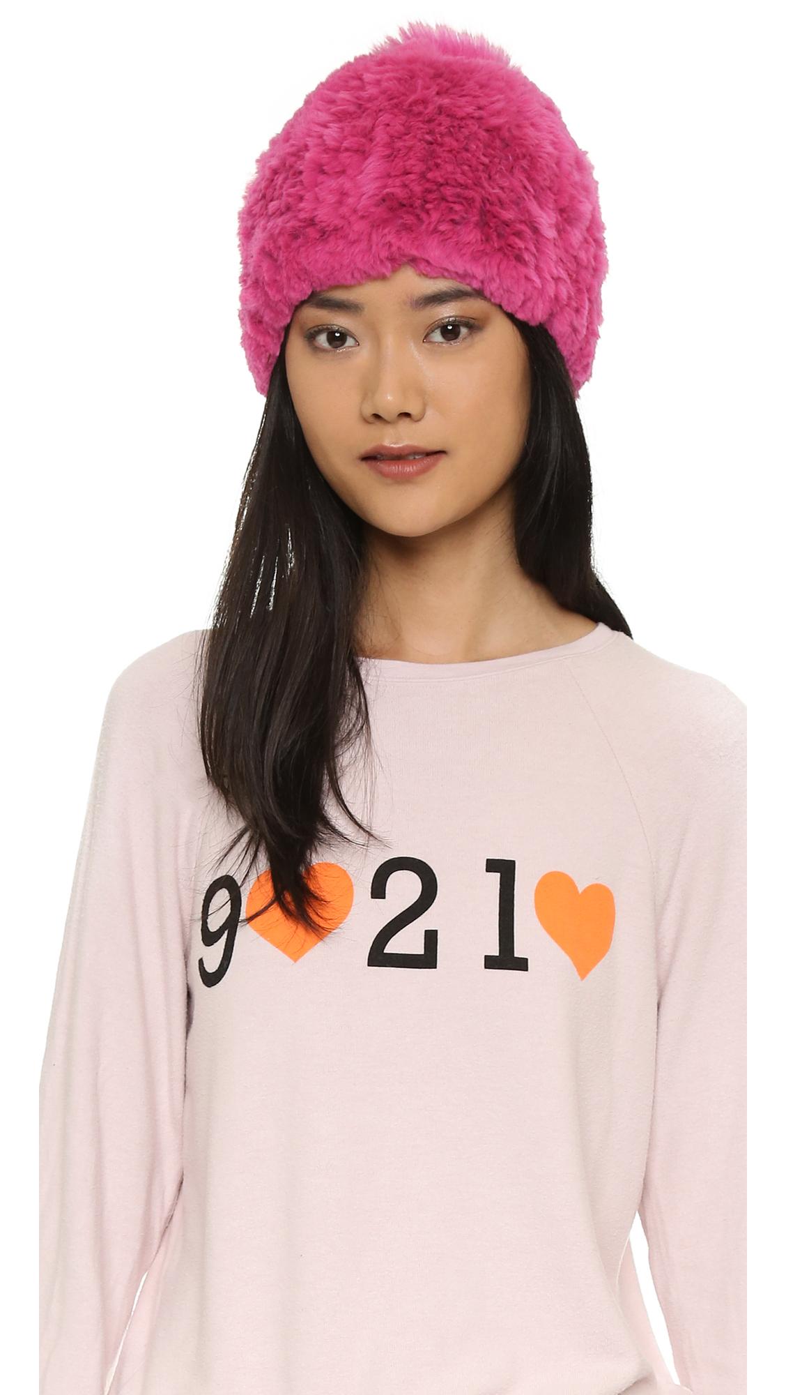 Lyst - Adrienne Landau Knit Fur Pom Pom Hat - Fuchsia in Pink 3274423563e