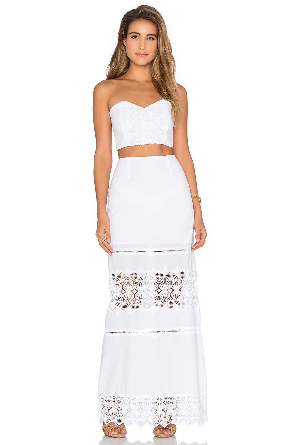 nightcap lace maxi skirt in white lyst