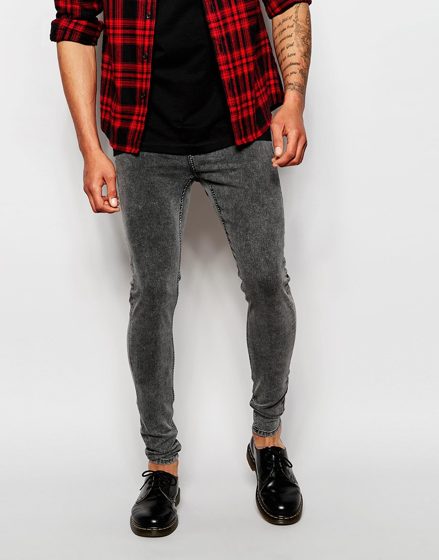 Cheap monday Jeans Him Spray Super Skinny Fit Fail Black Acid in ...