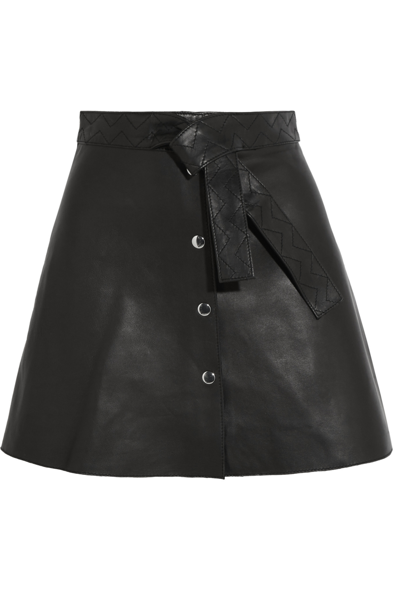Maje Belted Leather Mini Skirt in Black | Lyst