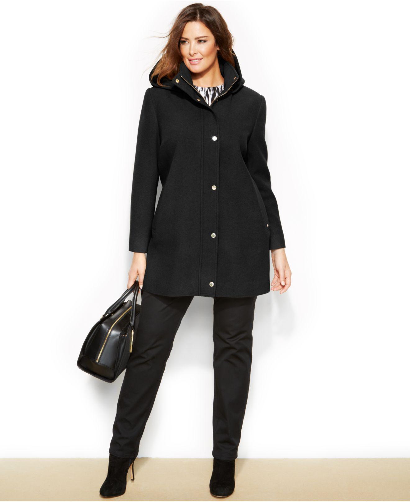 Ellen tracy Plus Size Wool-Blend Hooded Car Coat in Black | Lyst