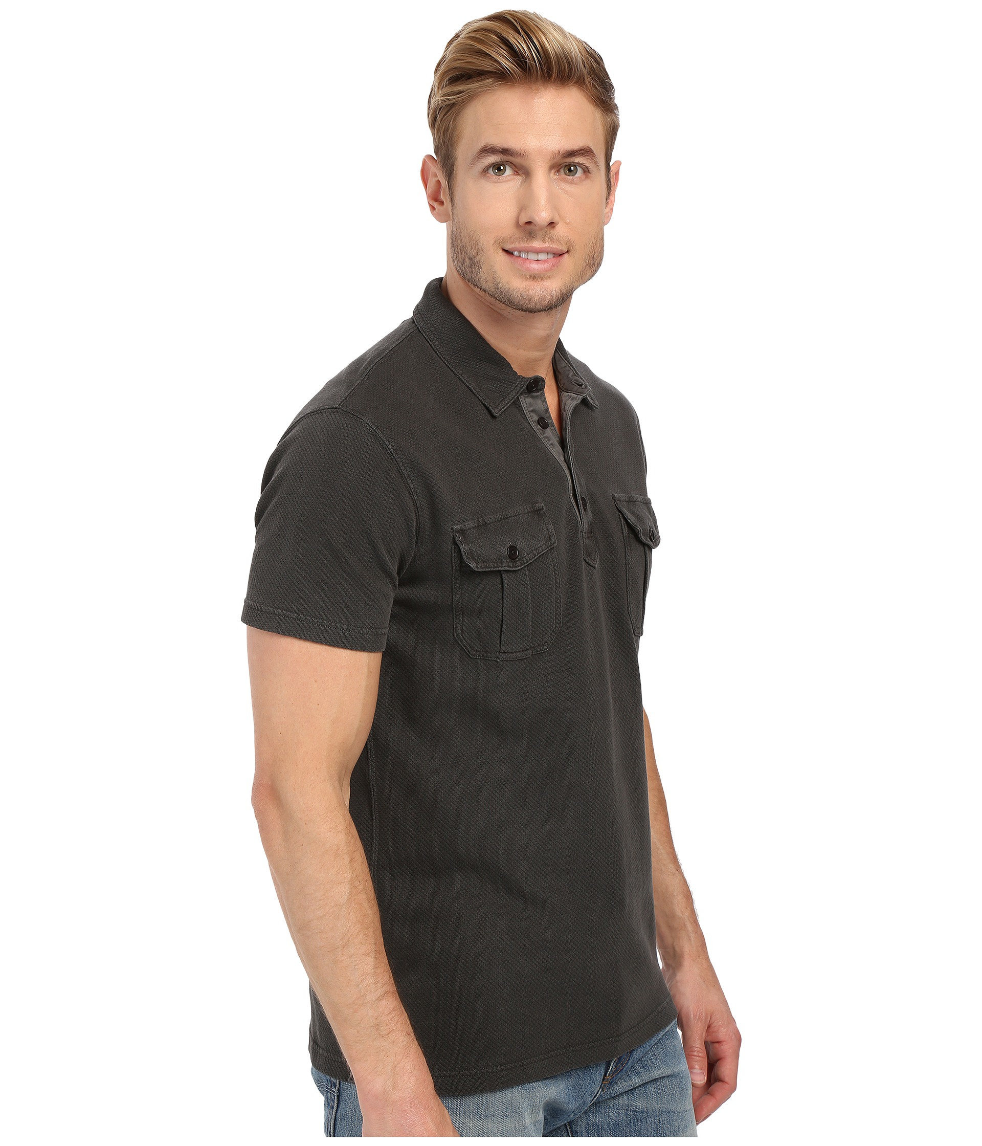 Lucky brand polo shirt in black for men lyst for Polo brand polo shirts