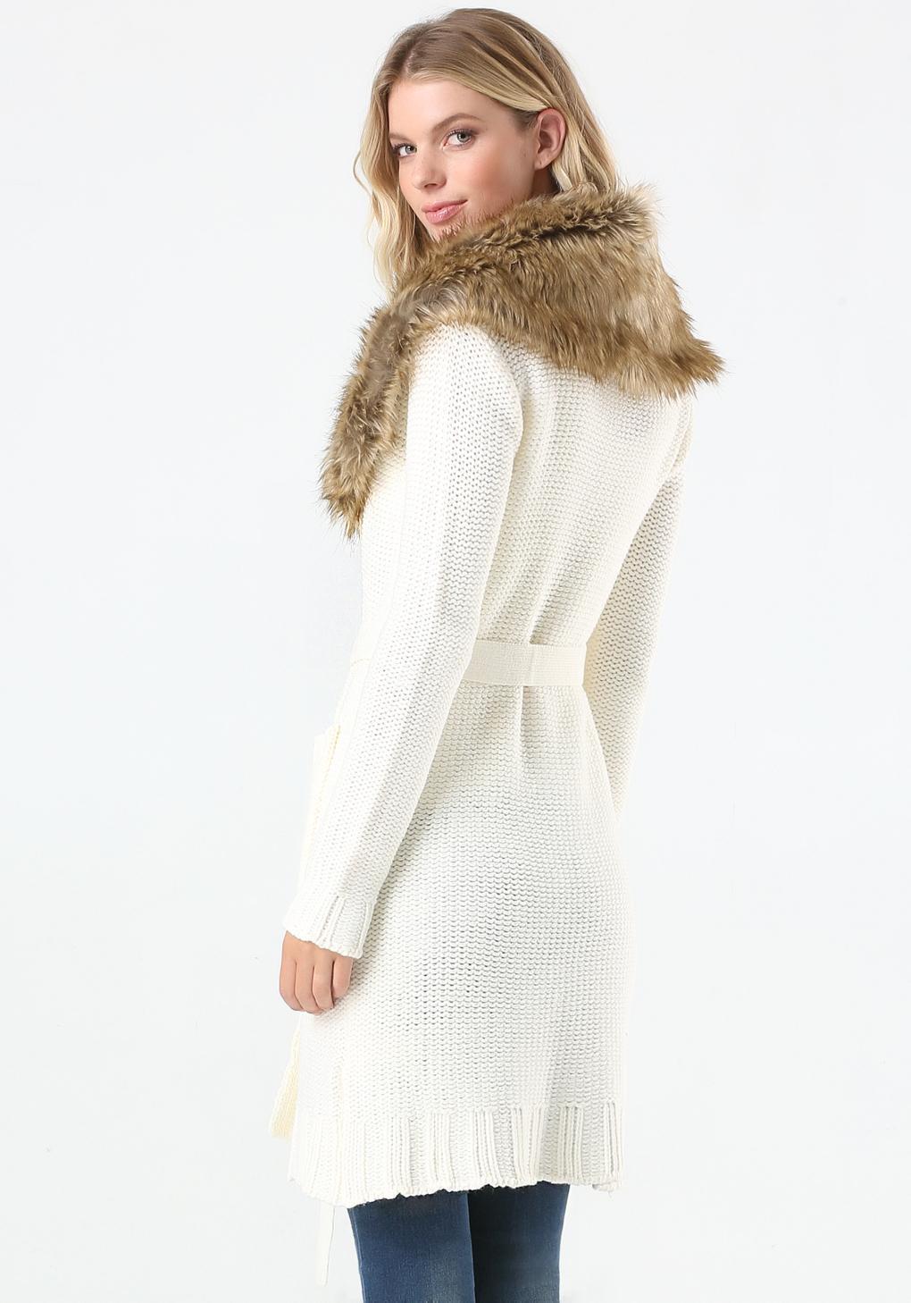 Bebe Faux Fur Trim Sweater Coat In White Lyst