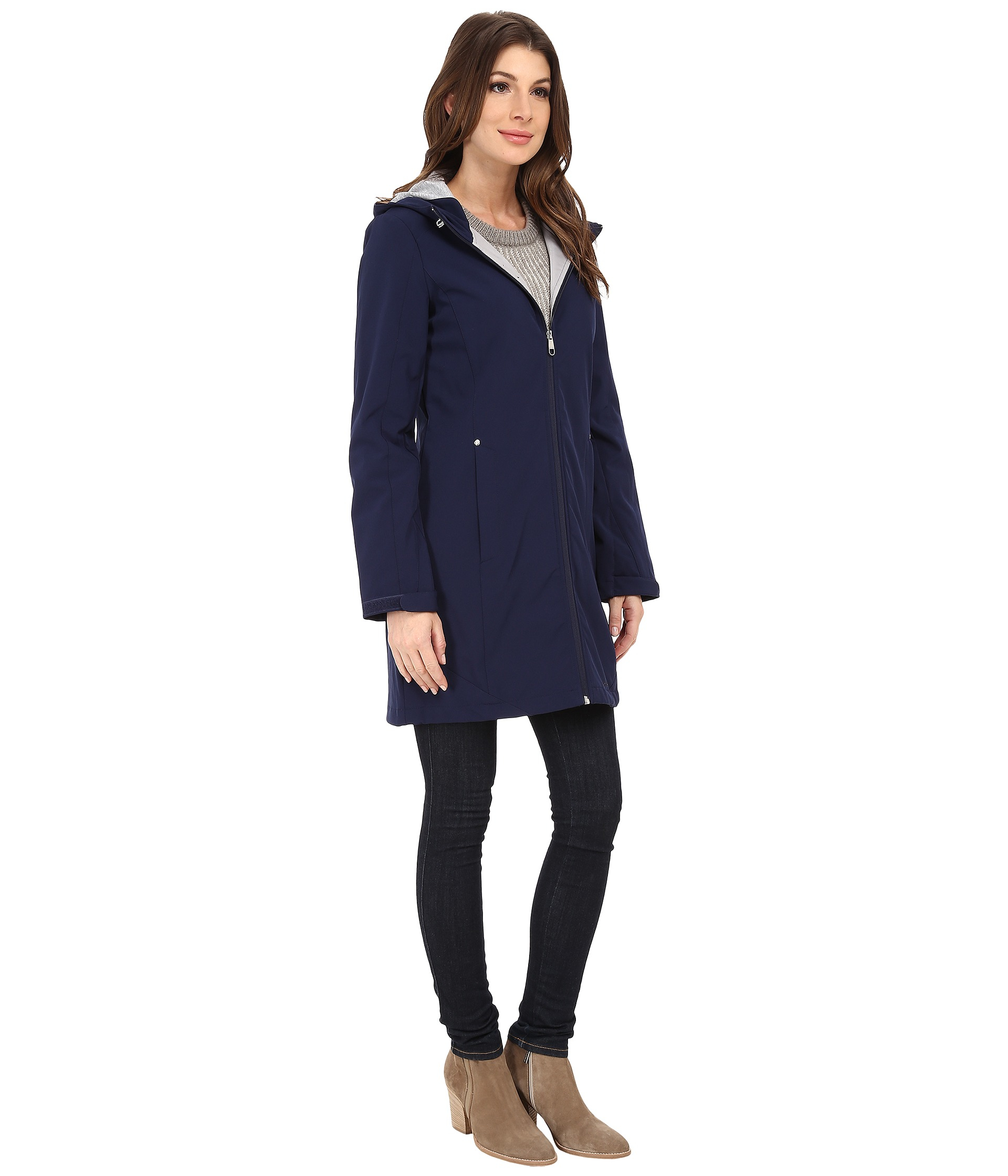 Calvin Klein Zip Front Soft Shell Coat W Jersey Lining In