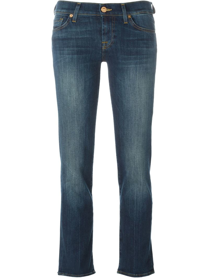 7 for all mankind 39 roxanne 39 jeans in blue lyst. Black Bedroom Furniture Sets. Home Design Ideas