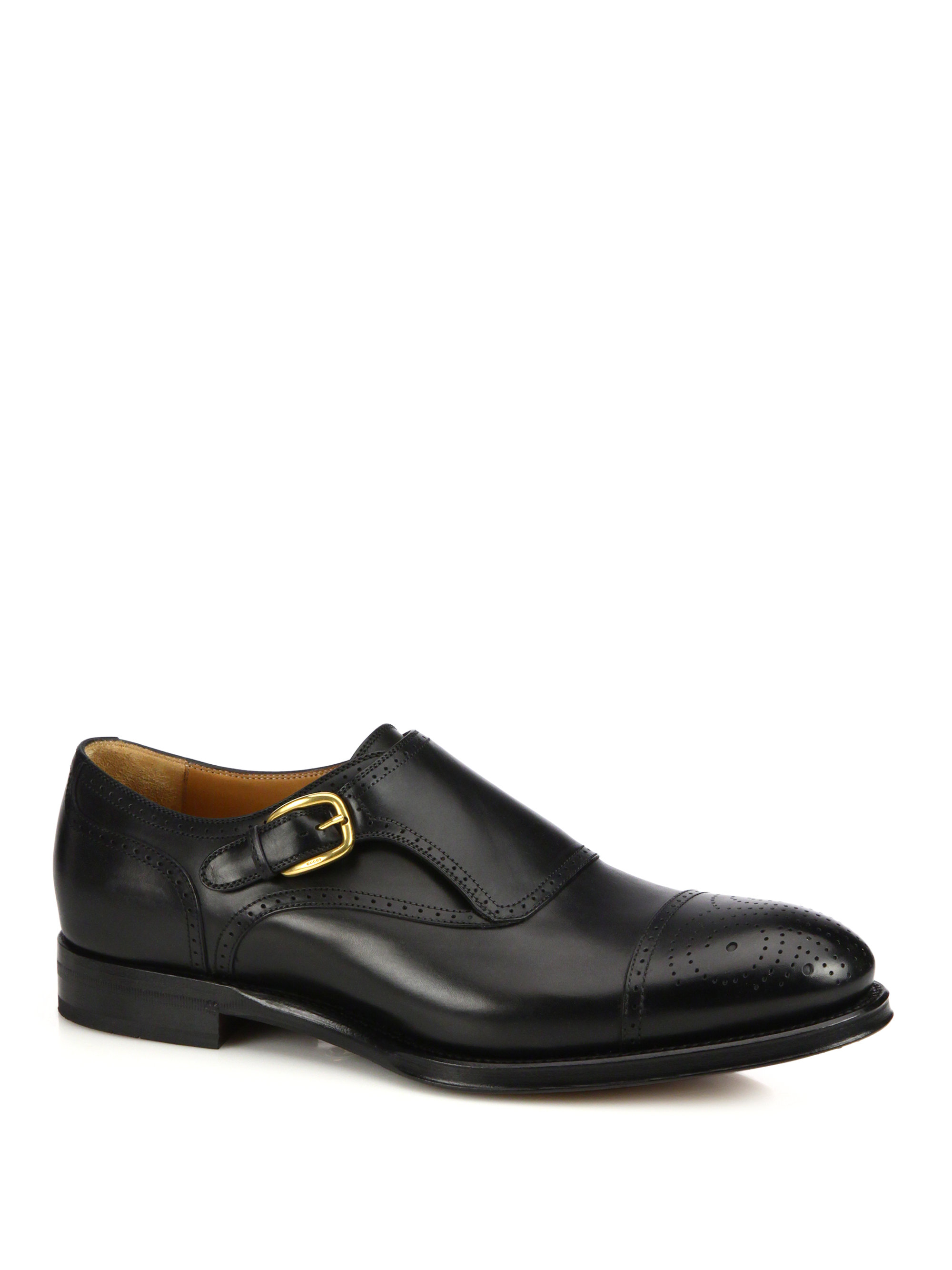 gucci brogued monk leather shoes in black for lyst