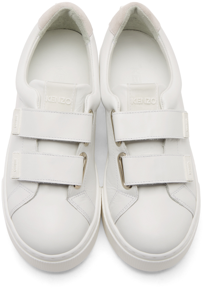 1590feeef03d Lyst - KENZO White Leather Velcro Platform Sneakers in White