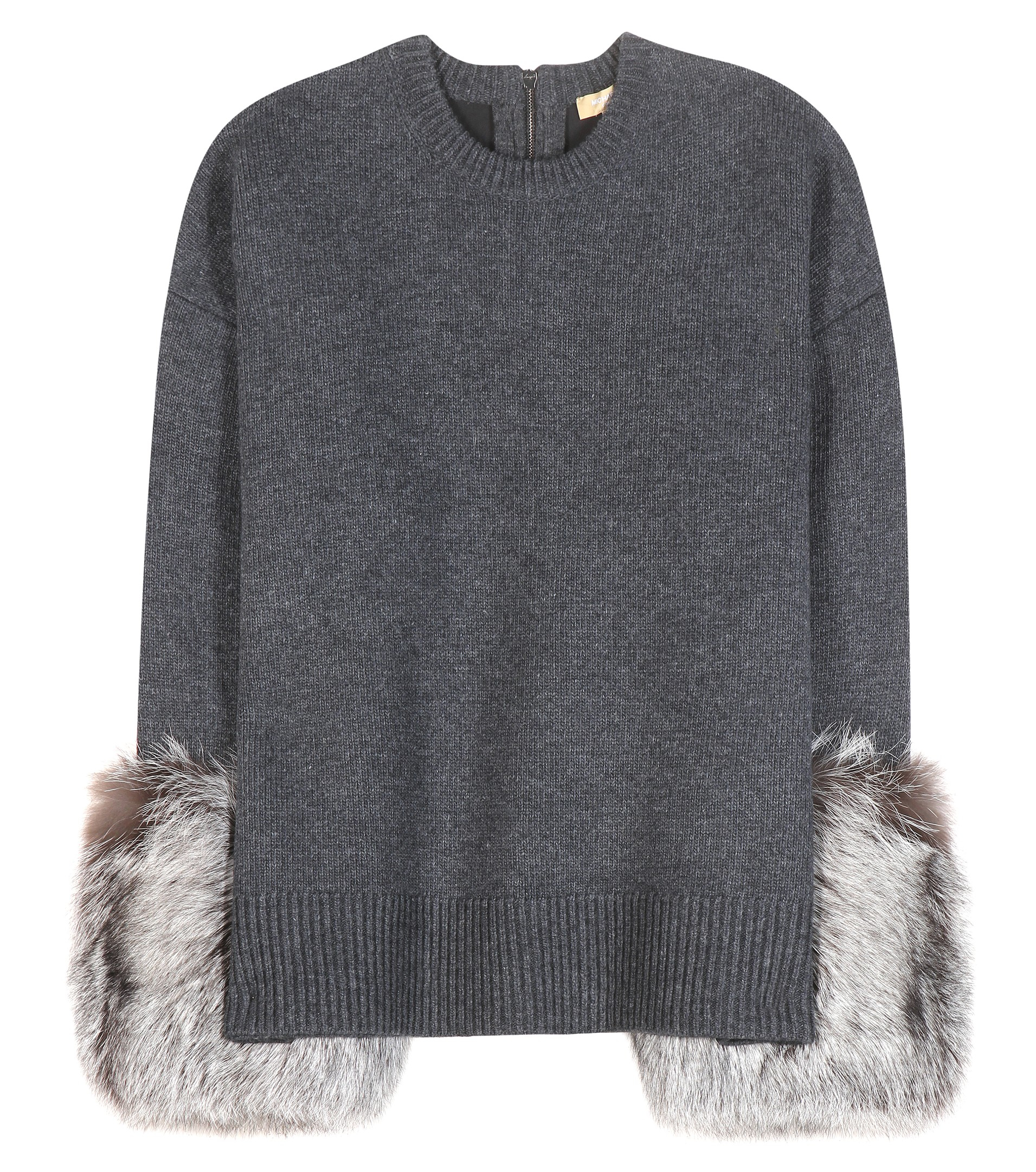 Sweater With Fur Neck And Cuff: Michael Kors Sweater With Fur-trim Cuffs In Charcoal