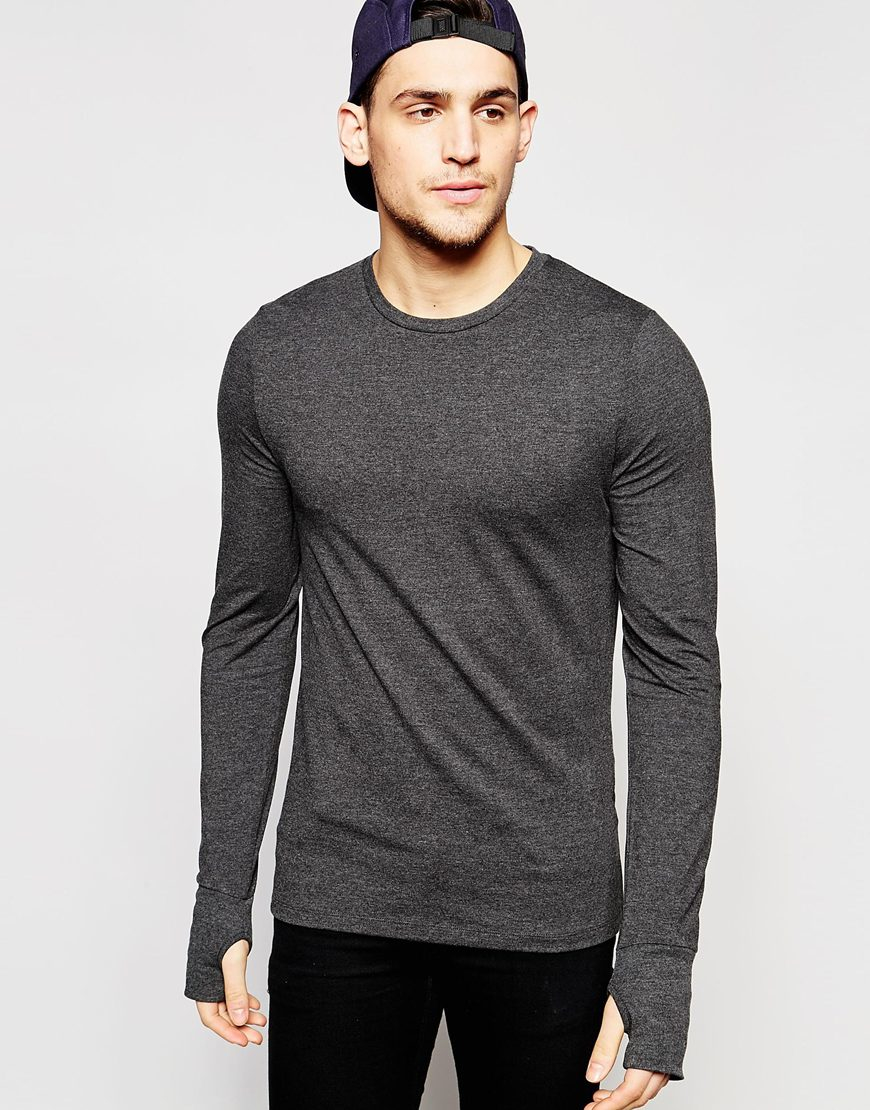 Men's Long Sleeve with Thumb Holes Cuff Top Shirt Casual Loose T-Shirt Basic Tee.