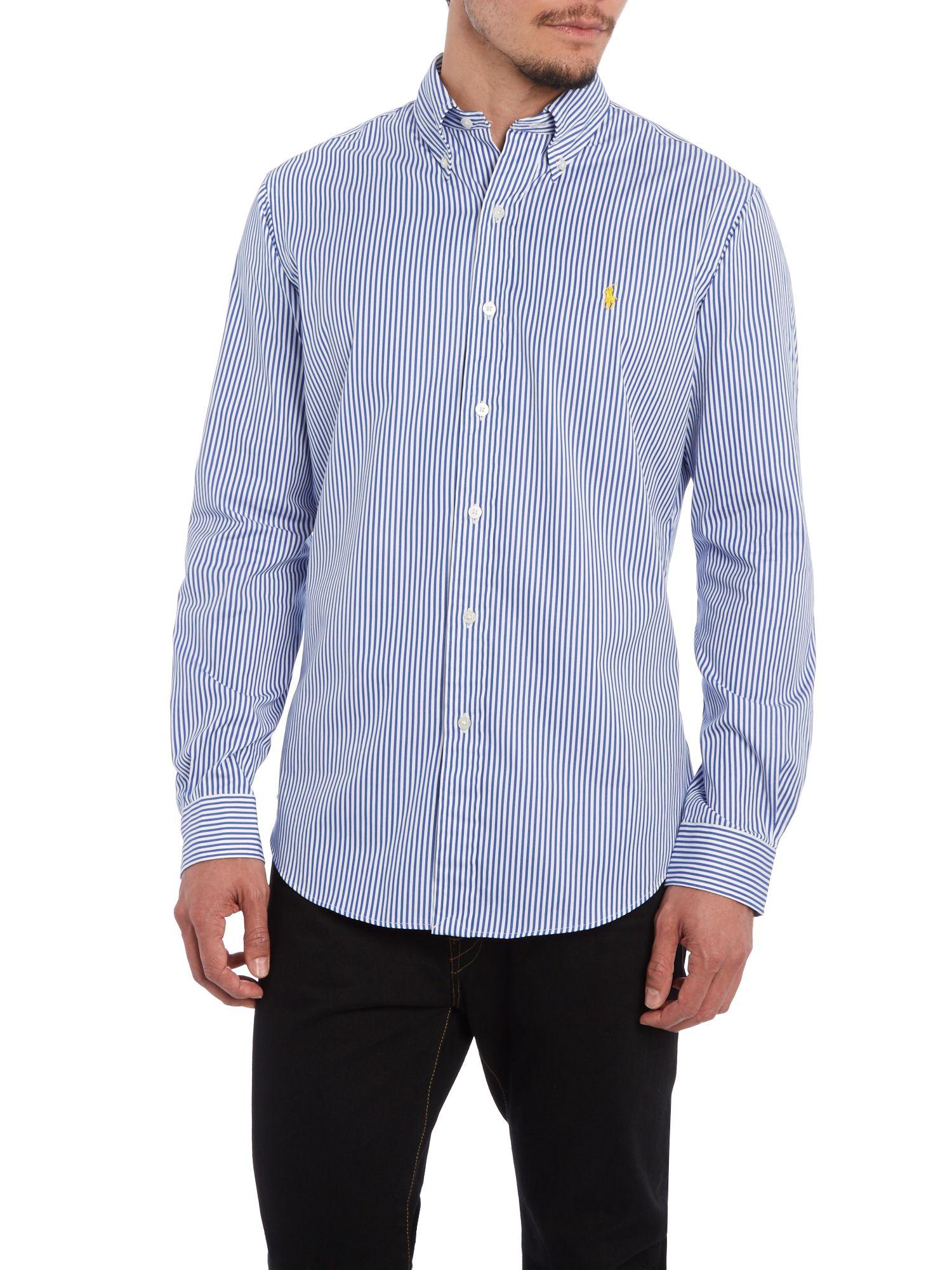 Ralph lauren golf custom fit long sleeve bengal stripe for Custom fit dress shirts