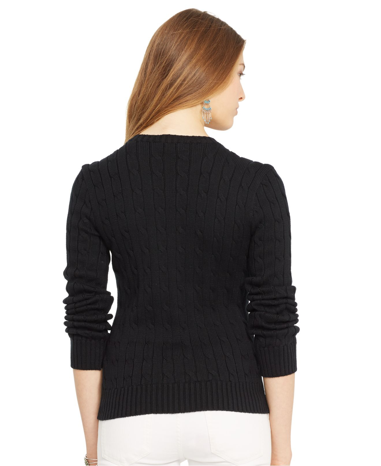 Polo ralph lauren Crew-Neck Cable-Knit Sweater in Black | Lyst