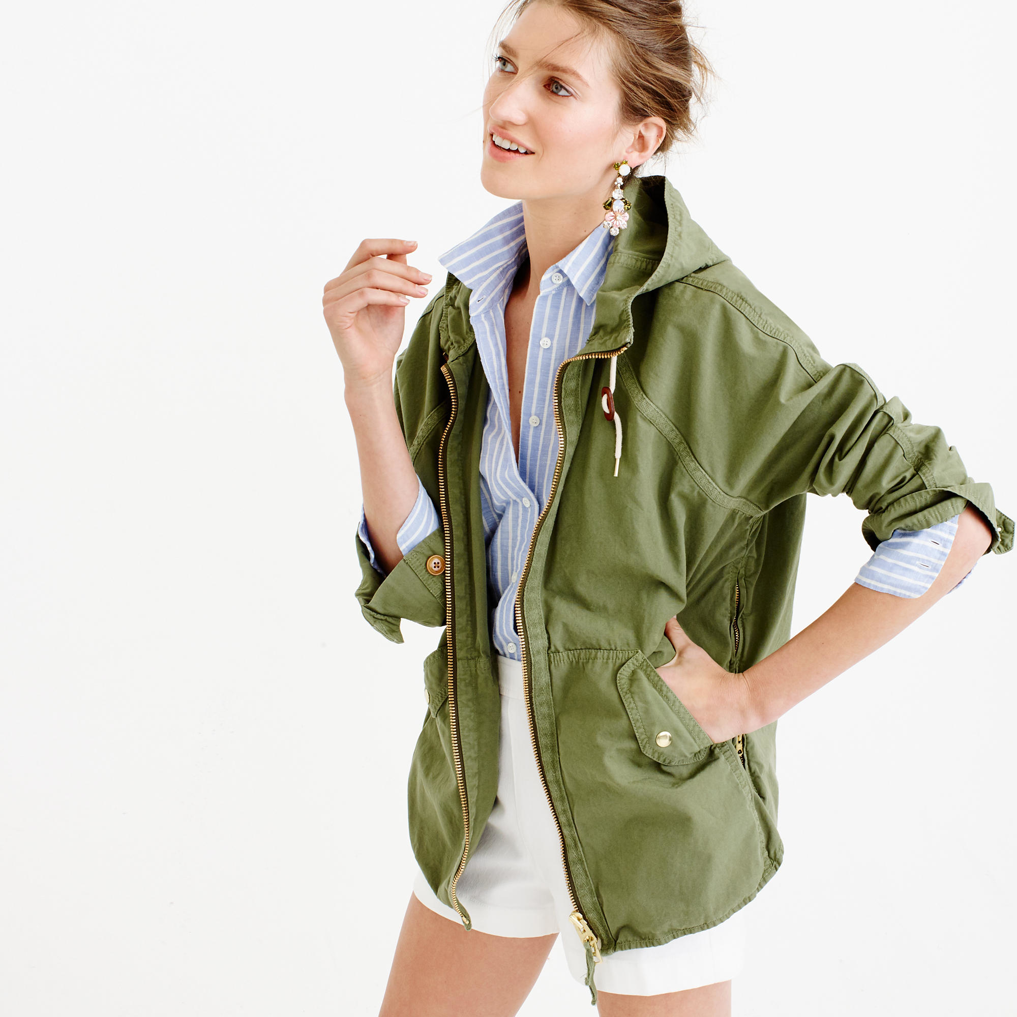 Jcrew Cotton Convertible Zip Anorak Jacket In Green - Lyst-2309