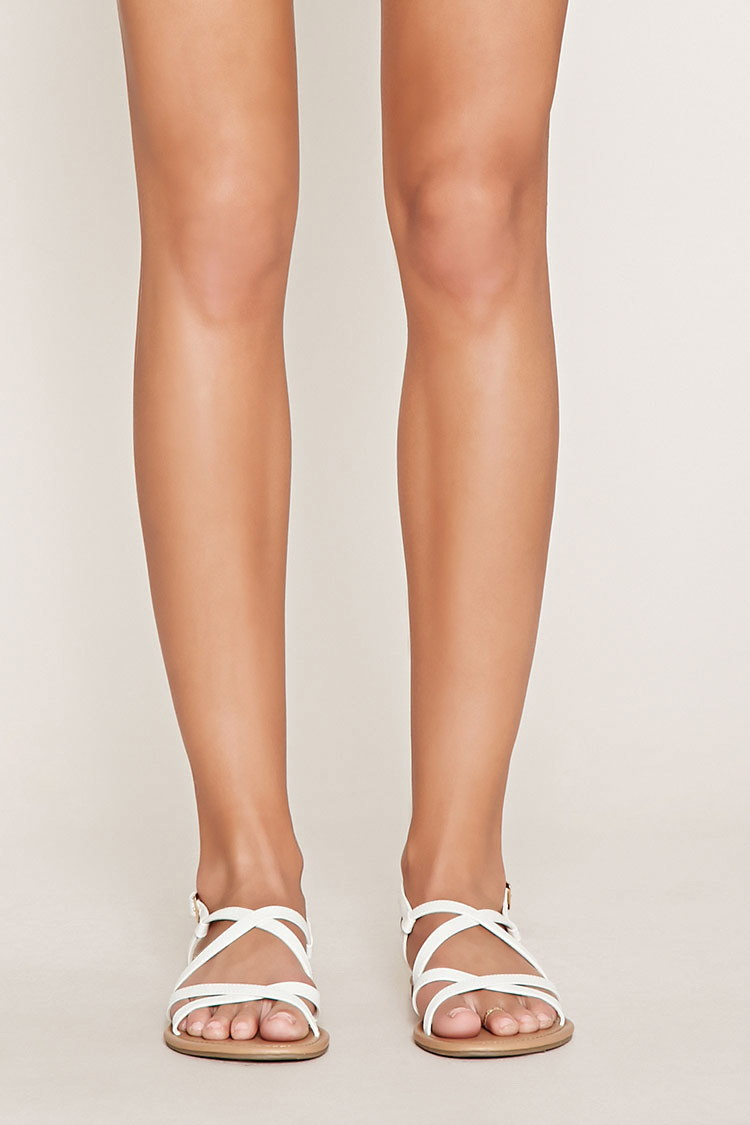 e1b08dbb32a Forever 21 Crisscross Faux Leather Sandals in White - Lyst