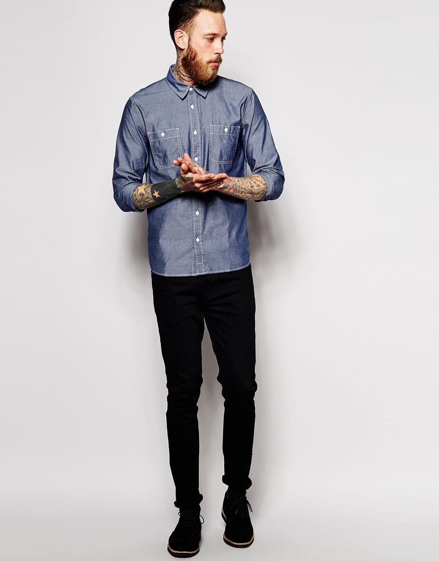 b90544489d4 Lyst - Edwin Shirt Labor Chambray Worker in Blue for Men