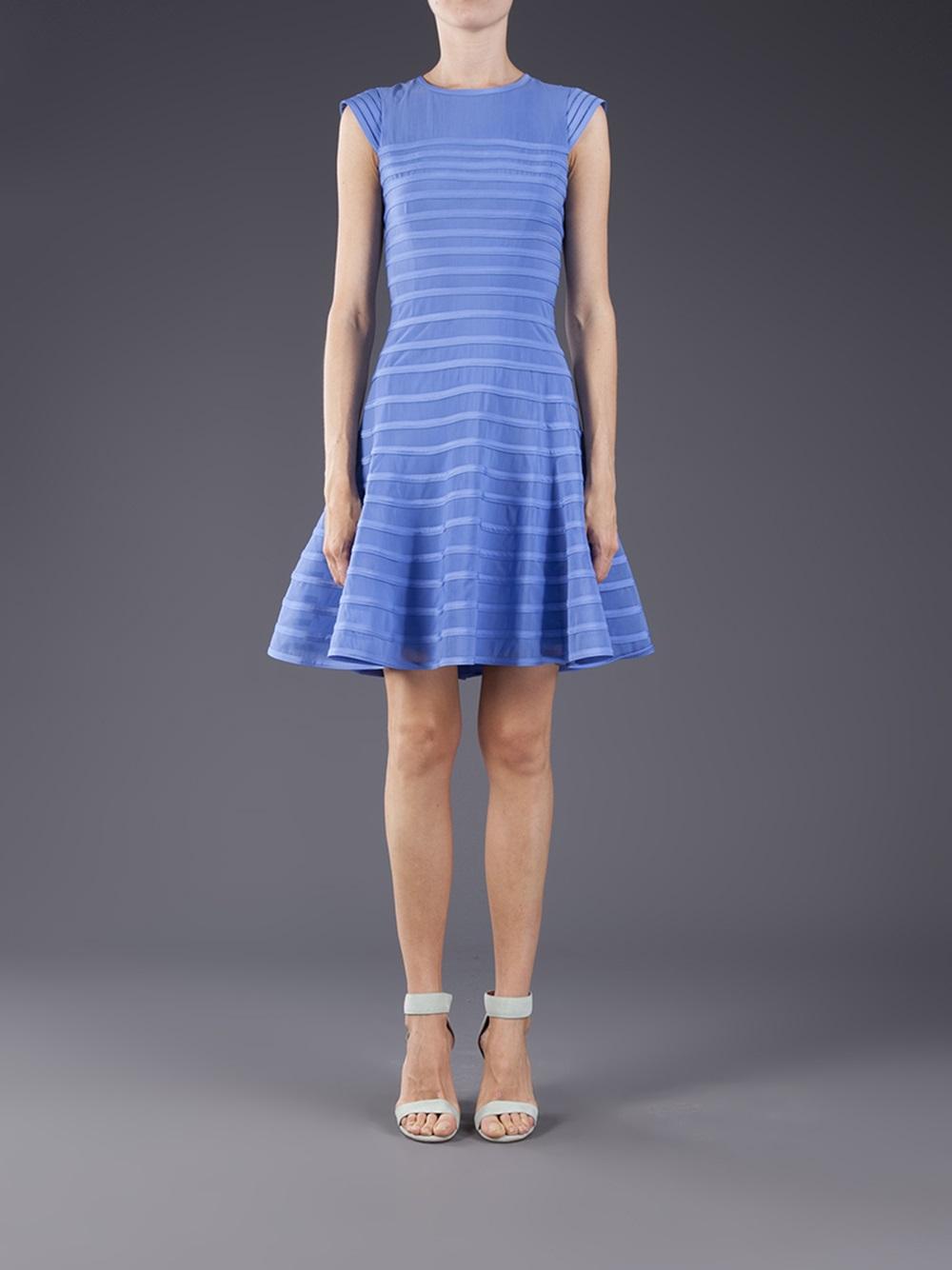 flared skirt dress in blue lyst