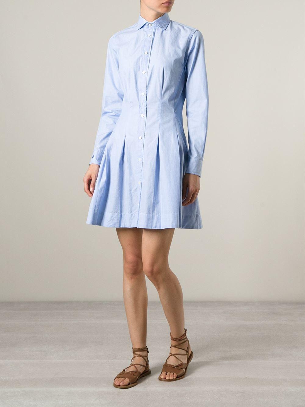 Lyst Polo Ralph Lauren Flared Shirt Dress In Blue